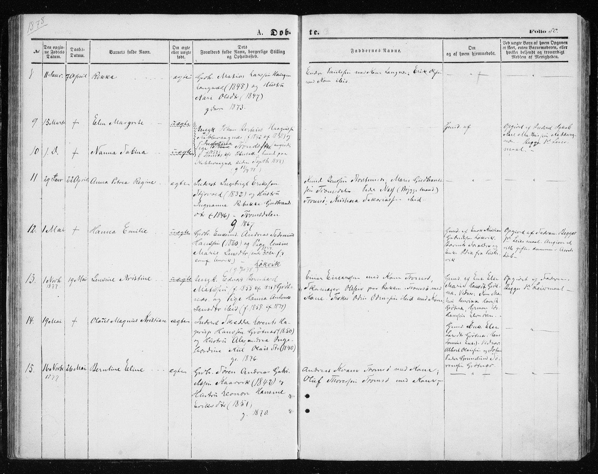 SATØ, Tromsøysund sokneprestkontor, G/Ga/L0003kirke: Ministerialbok nr. 3, 1875-1880, s. 50