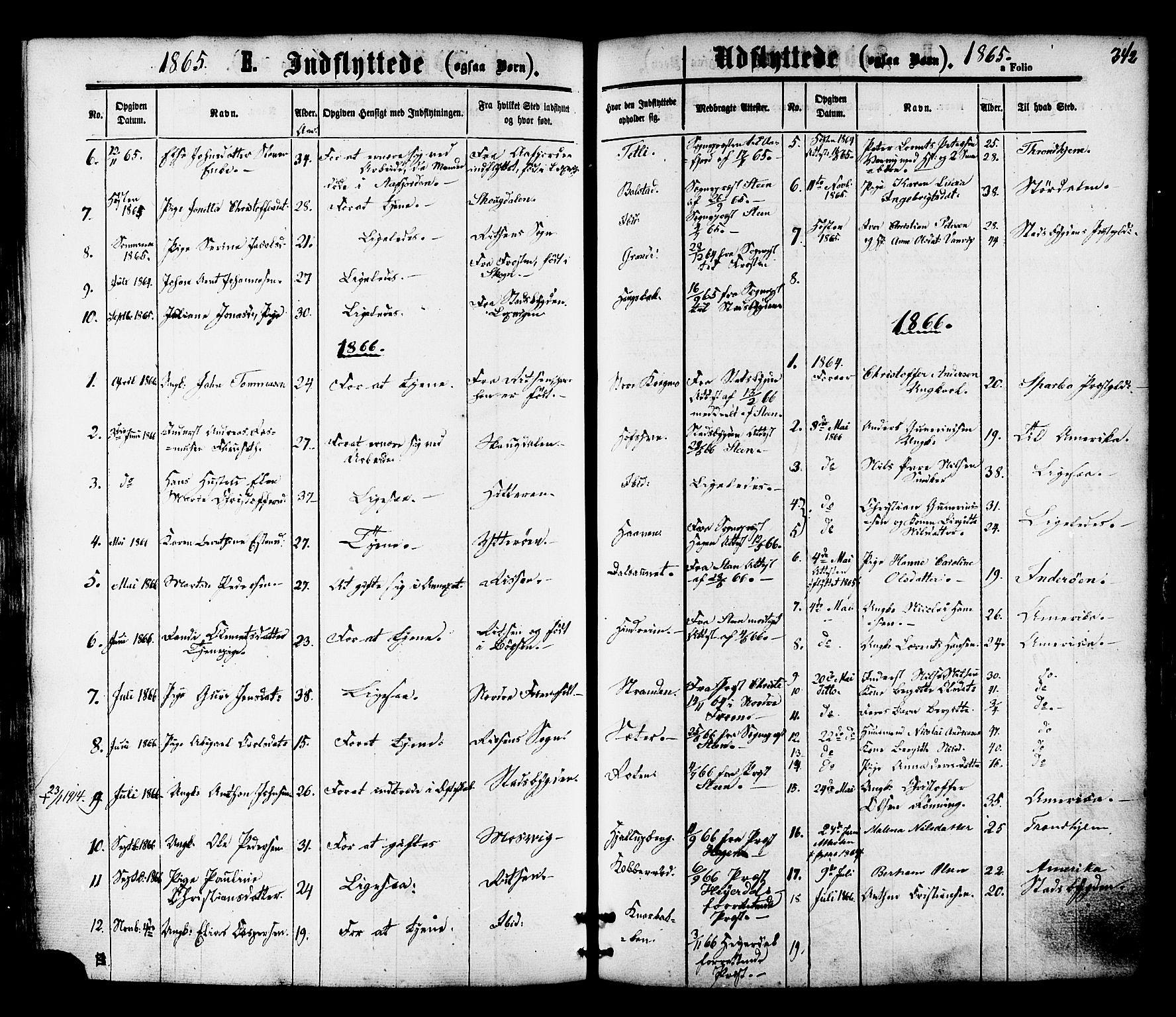 SAT, Ministerialprotokoller, klokkerbøker og fødselsregistre - Nord-Trøndelag, 701/L0009: Ministerialbok nr. 701A09 /1, 1864-1882, s. 342