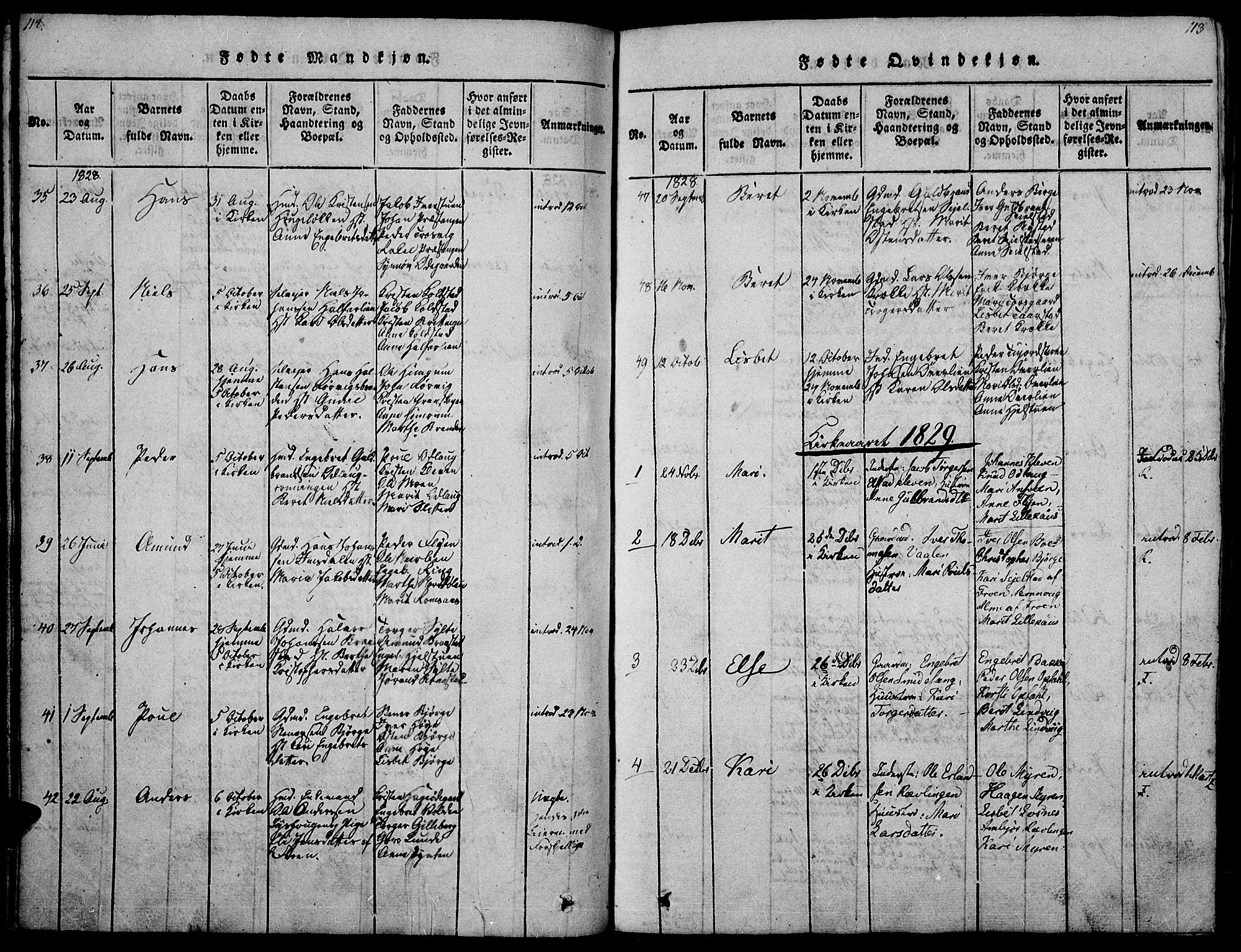 SAH, Ringebu prestekontor, Ministerialbok nr. 4, 1821-1839, s. 112-113