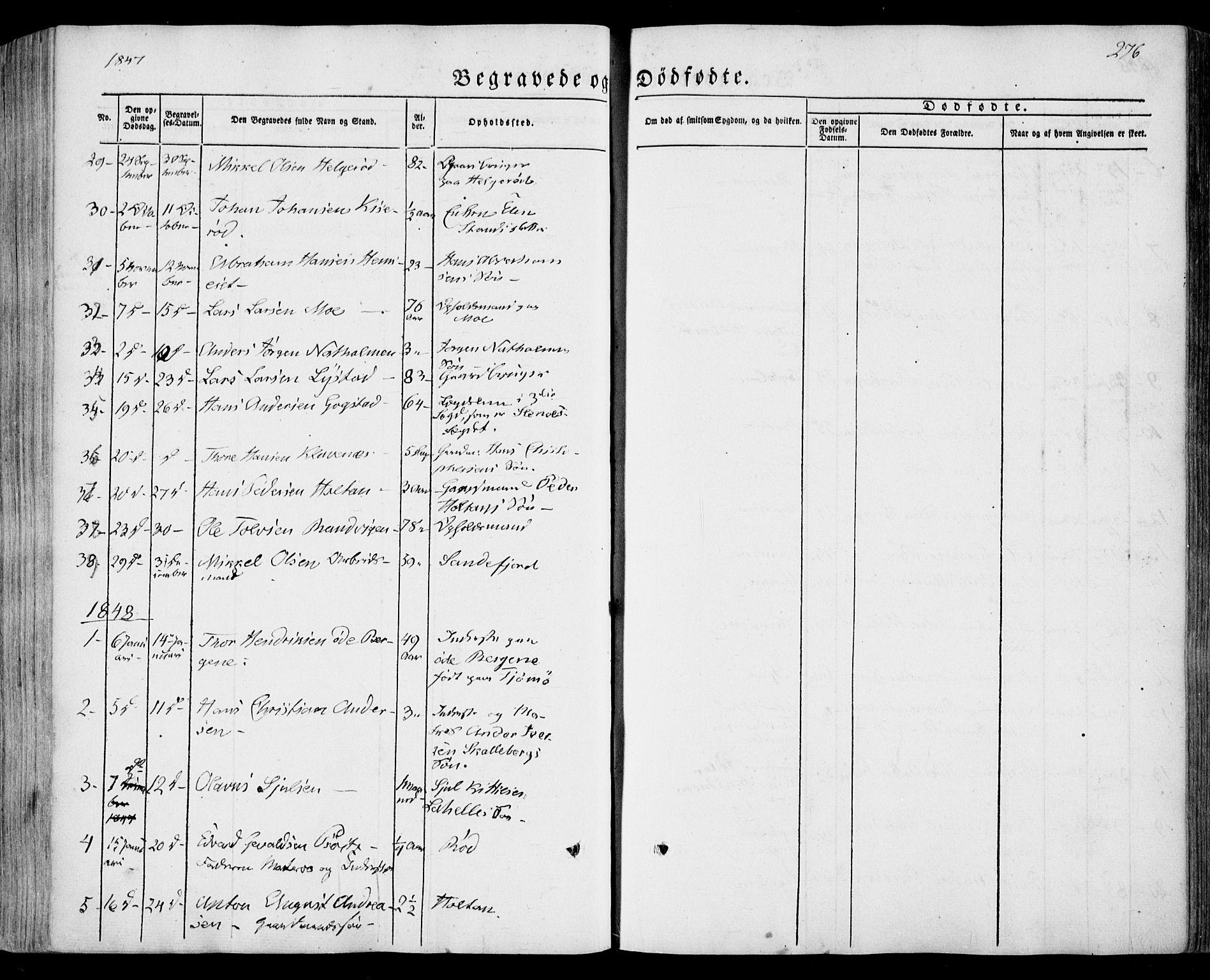 SAKO, Sandar kirkebøker, F/Fa/L0006: Ministerialbok nr. 6, 1847-1860, s. 276
