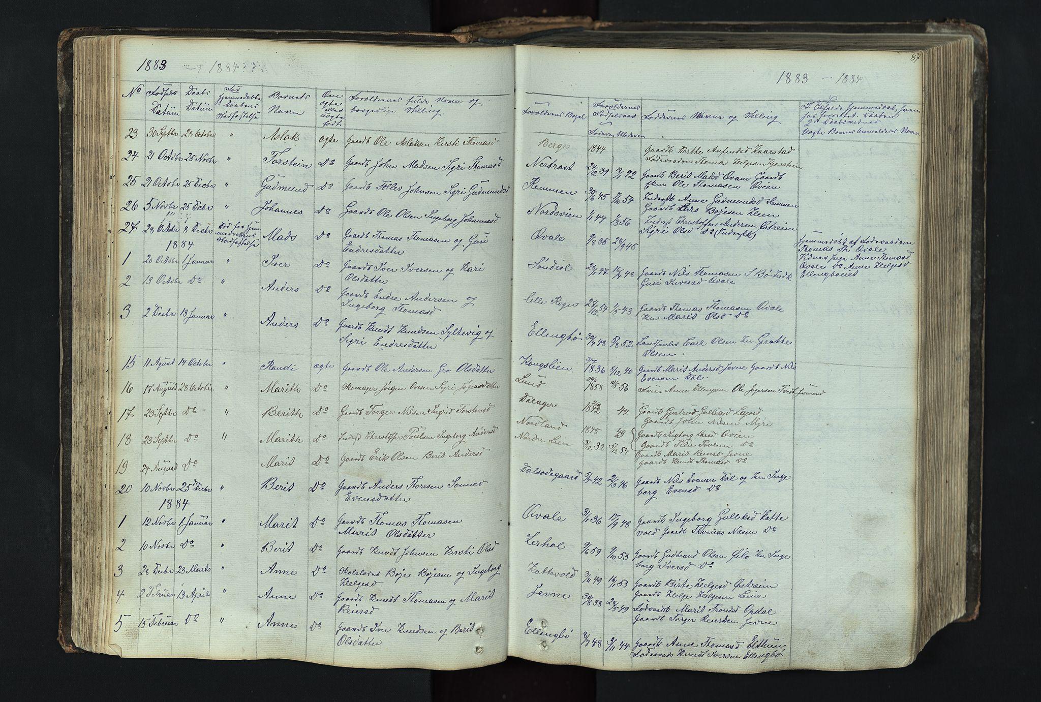 SAH, Vang prestekontor, Valdres, Klokkerbok nr. 4, 1835-1892, s. 87