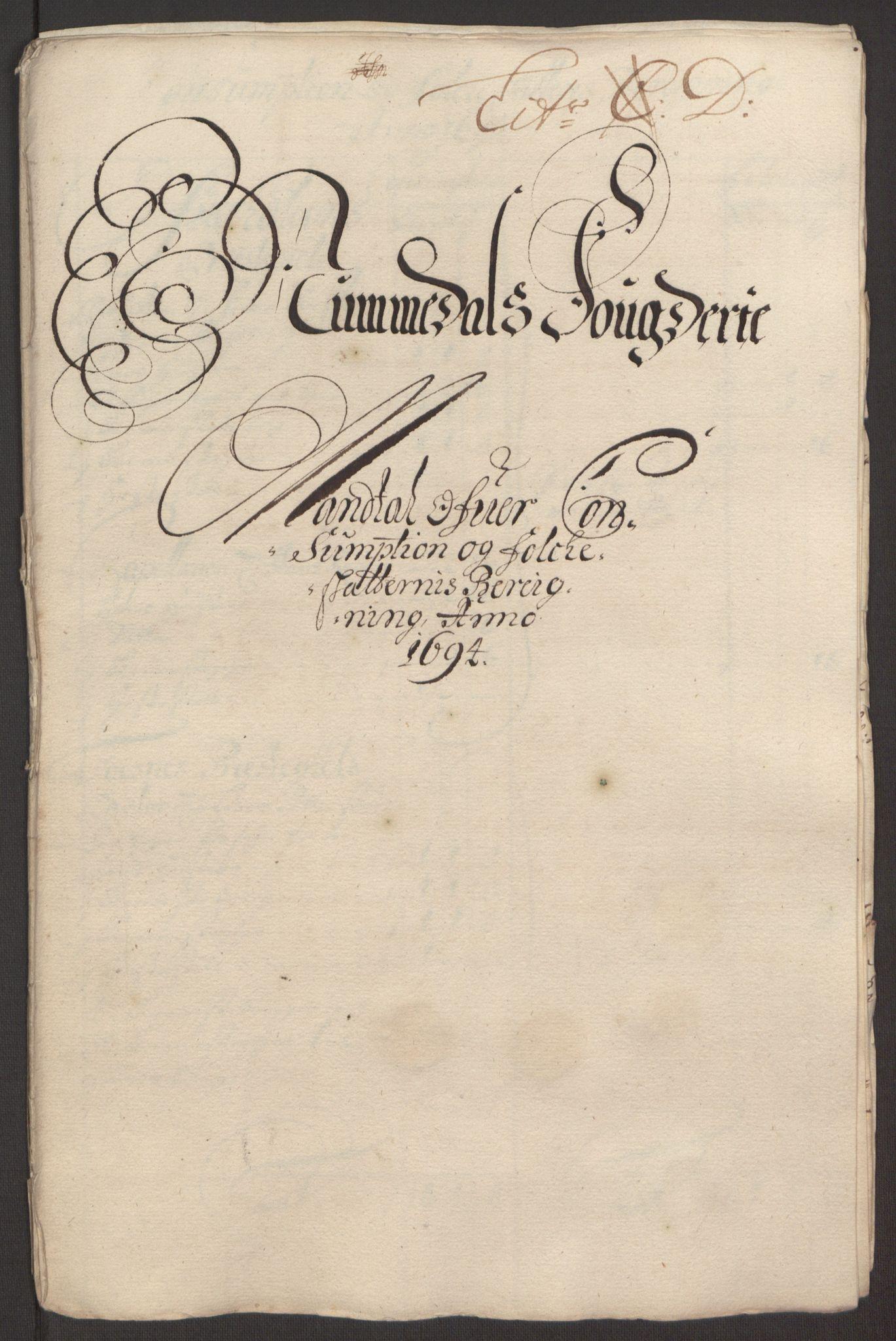 RA, Rentekammeret inntil 1814, Reviderte regnskaper, Fogderegnskap, R64/L4424: Fogderegnskap Namdal, 1692-1695, s. 352
