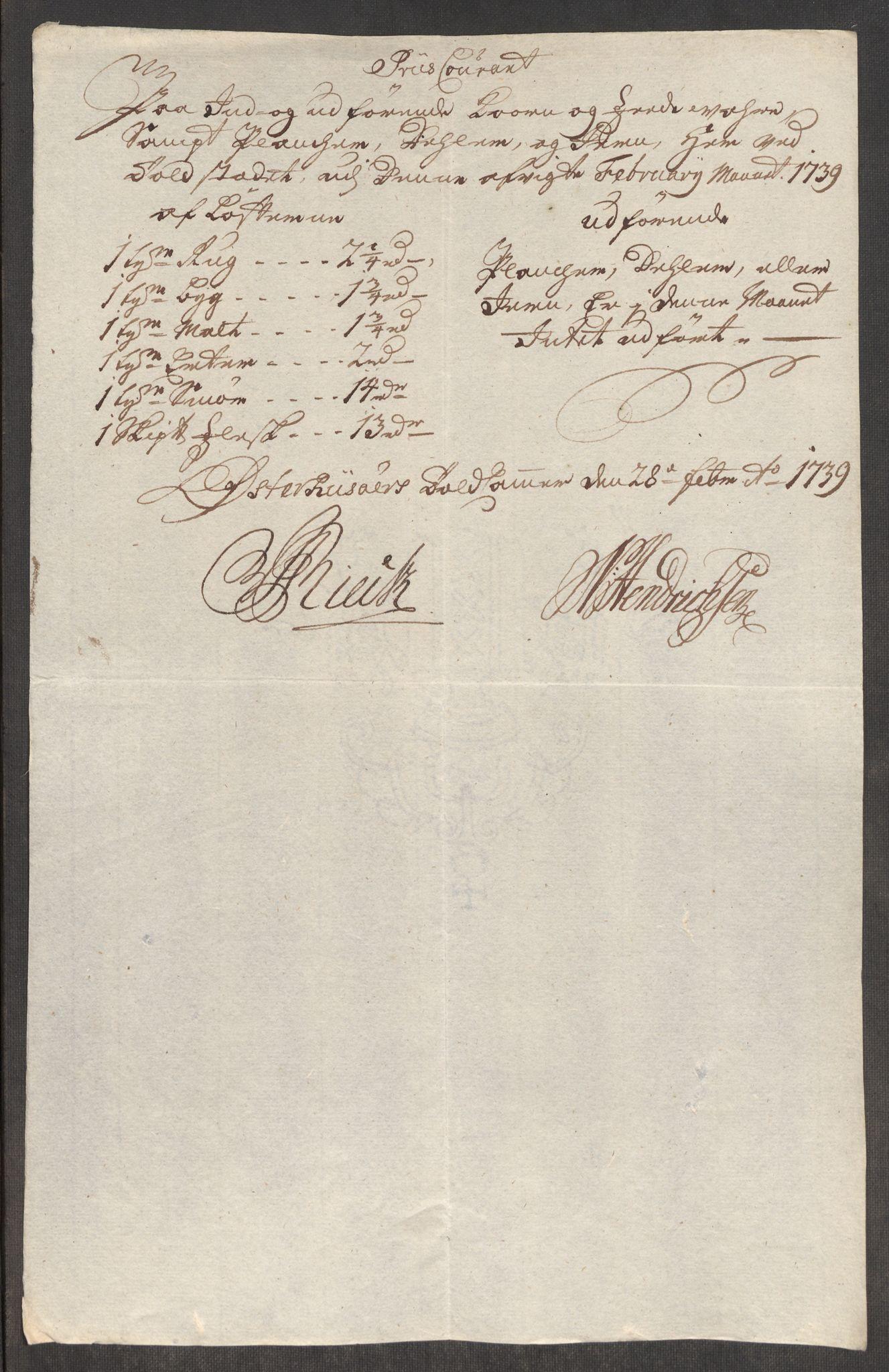RA, Rentekammeret inntil 1814, Realistisk ordnet avdeling, Oe/L0001: [Ø1]: Priskuranter, 1712-1739, s. 1018