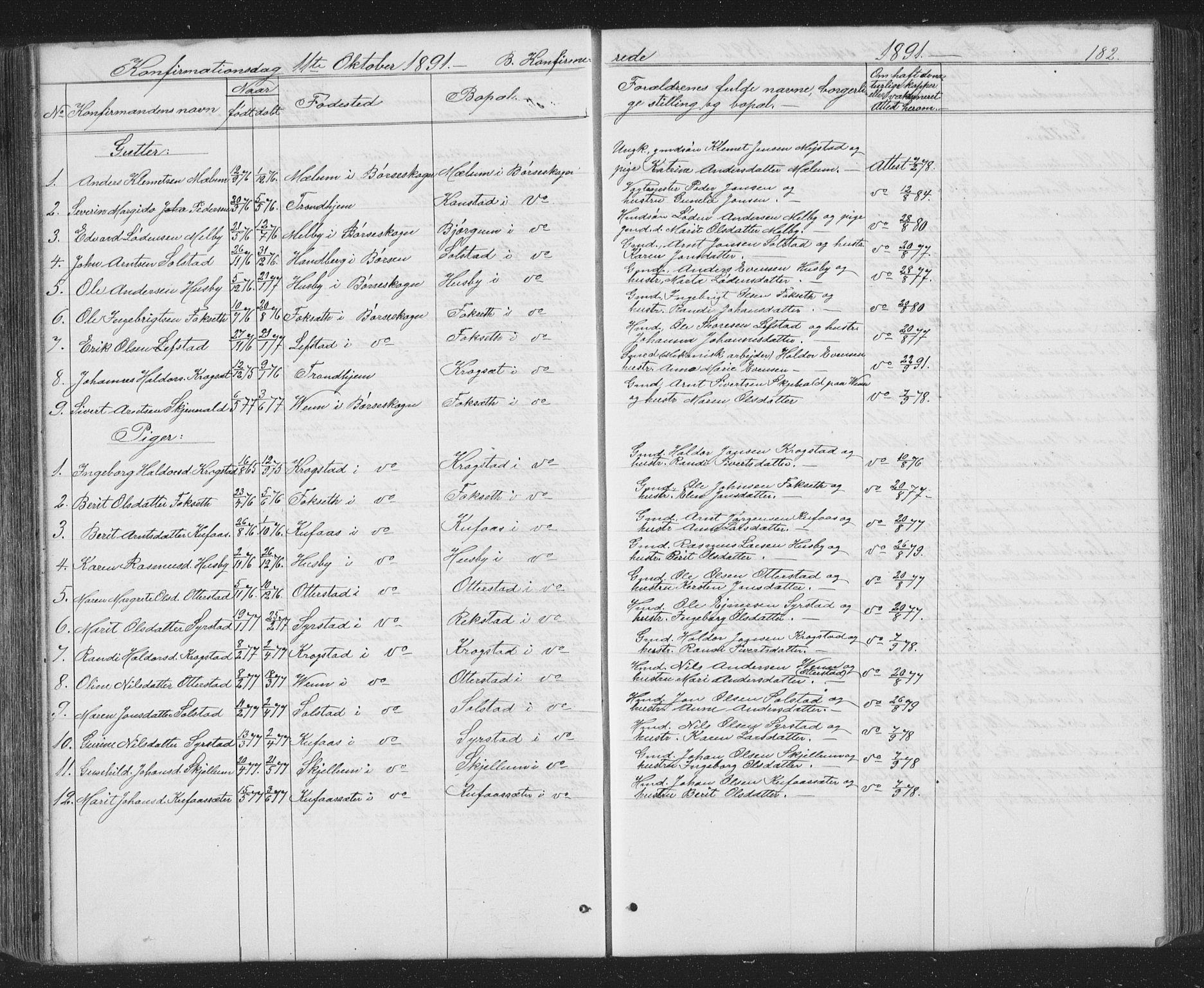 SAT, Ministerialprotokoller, klokkerbøker og fødselsregistre - Sør-Trøndelag, 667/L0798: Klokkerbok nr. 667C03, 1867-1929, s. 182