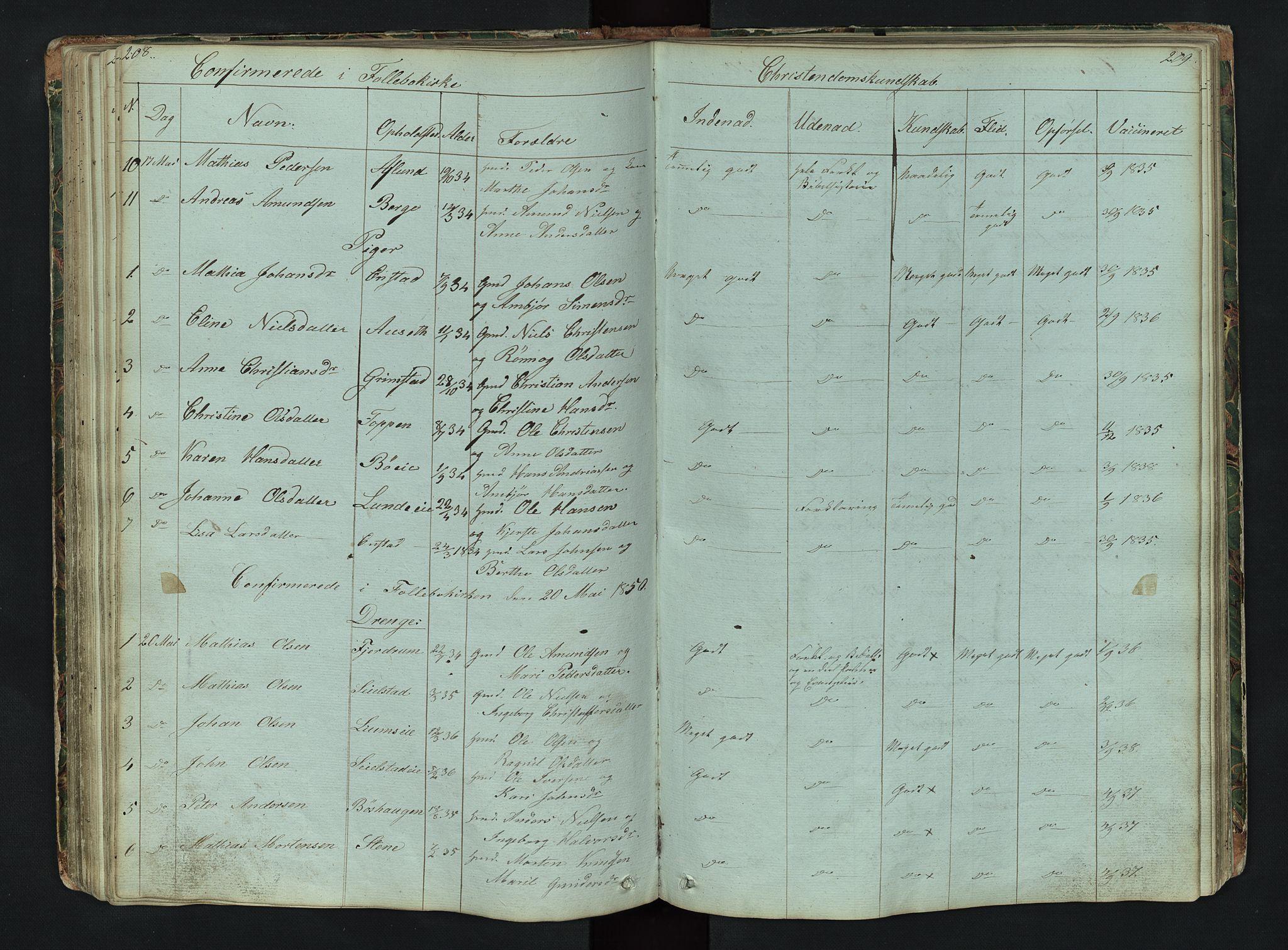 SAH, Gausdal prestekontor, Klokkerbok nr. 6, 1846-1893, s. 208-209