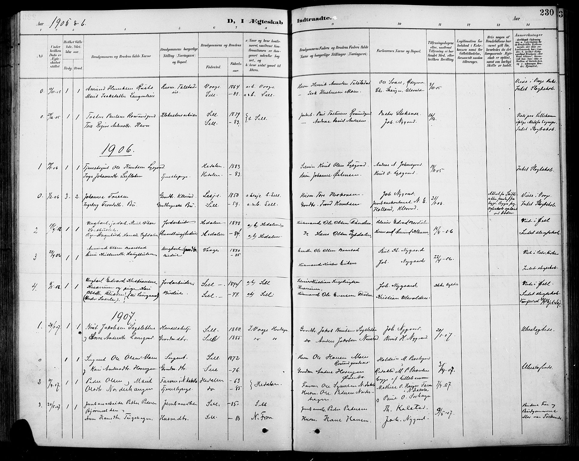 SAH, Sel prestekontor, Klokkerbok nr. 1, 1894-1923, s. 230