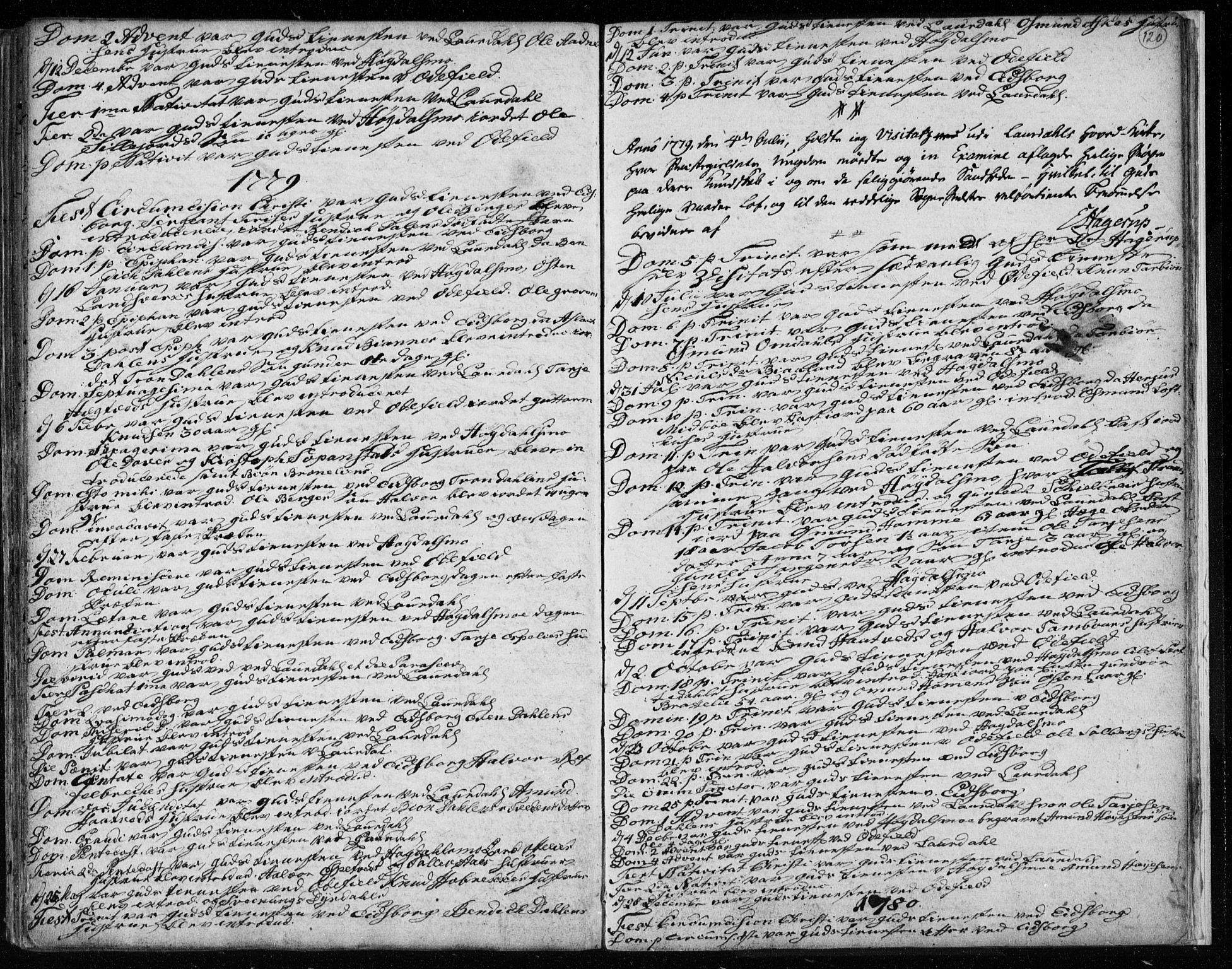 SAKO, Lårdal kirkebøker, F/Fa/L0003: Ministerialbok nr. I 3, 1754-1790, s. 120