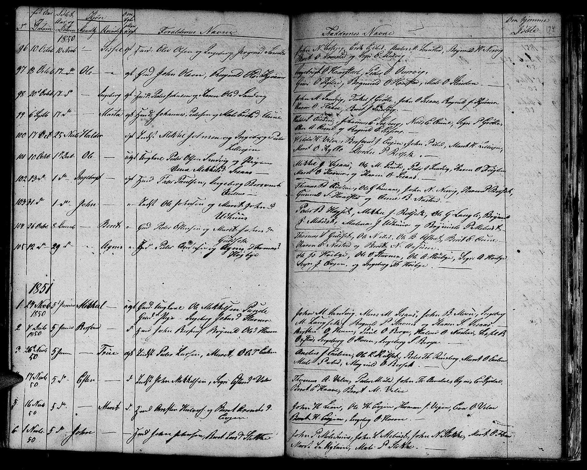 SAT, Ministerialprotokoller, klokkerbøker og fødselsregistre - Sør-Trøndelag, 695/L1154: Klokkerbok nr. 695C05, 1842-1858, s. 174