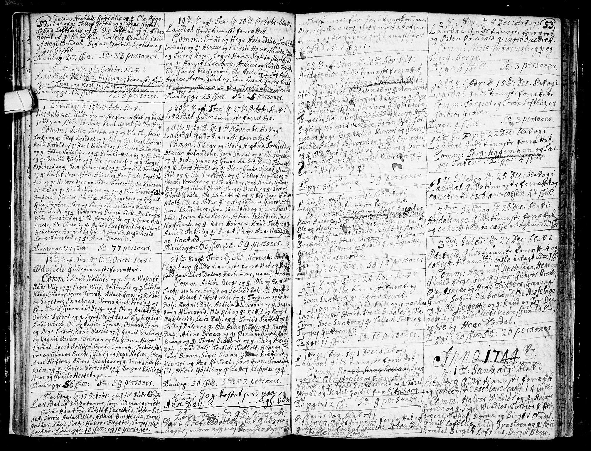 SAKO, Lårdal kirkebøker, F/Fa/L0002: Ministerialbok nr. I 2, 1734-1754, s. 52-53