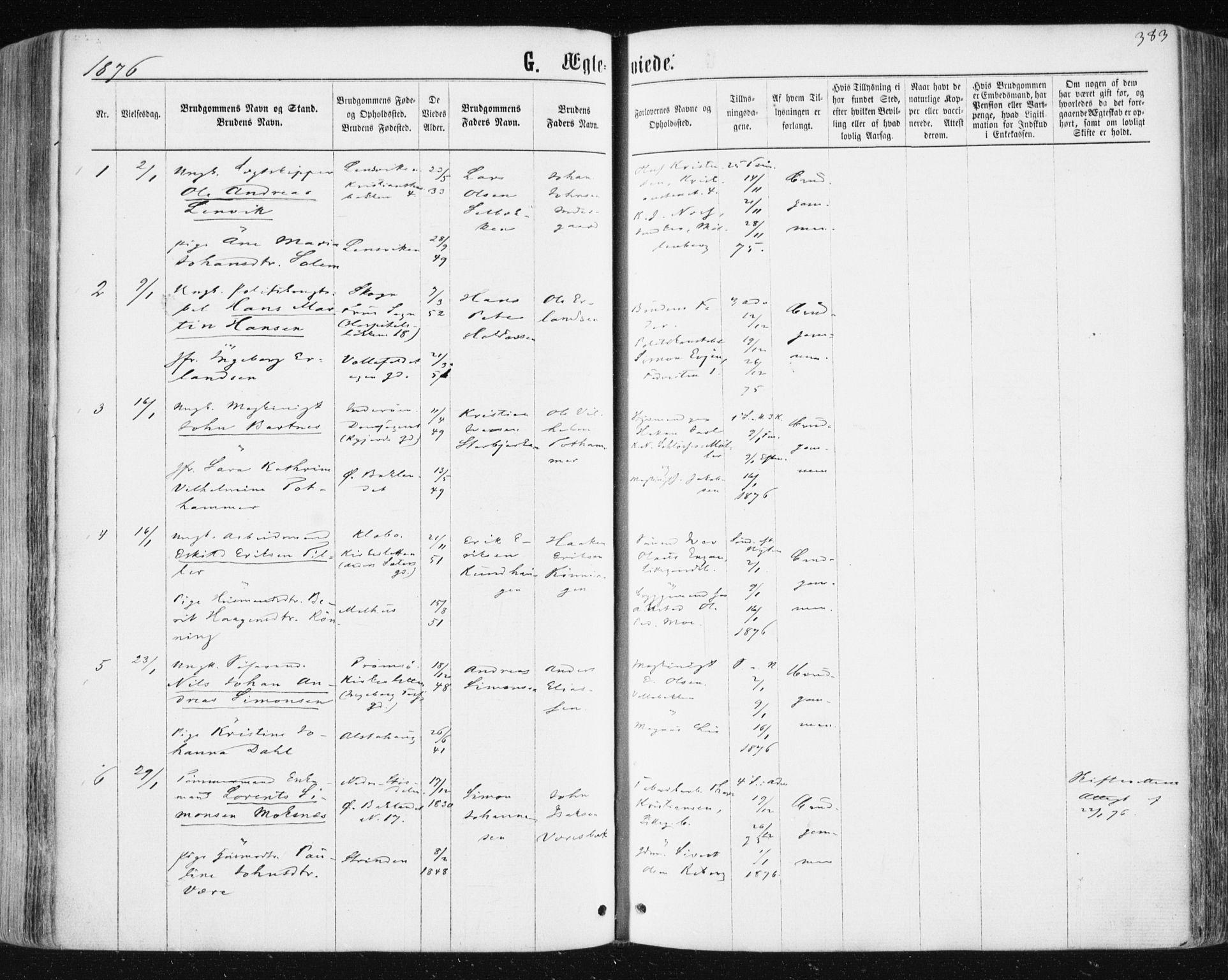 SAT, Ministerialprotokoller, klokkerbøker og fødselsregistre - Sør-Trøndelag, 604/L0186: Ministerialbok nr. 604A07, 1866-1877, s. 383