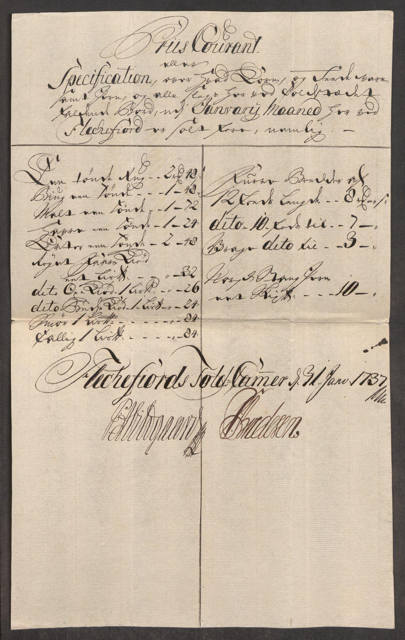RA, Rentekammeret inntil 1814, Realistisk ordnet avdeling, Oe/L0001: [Ø1]: Priskuranter, 1712-1739, s. 653