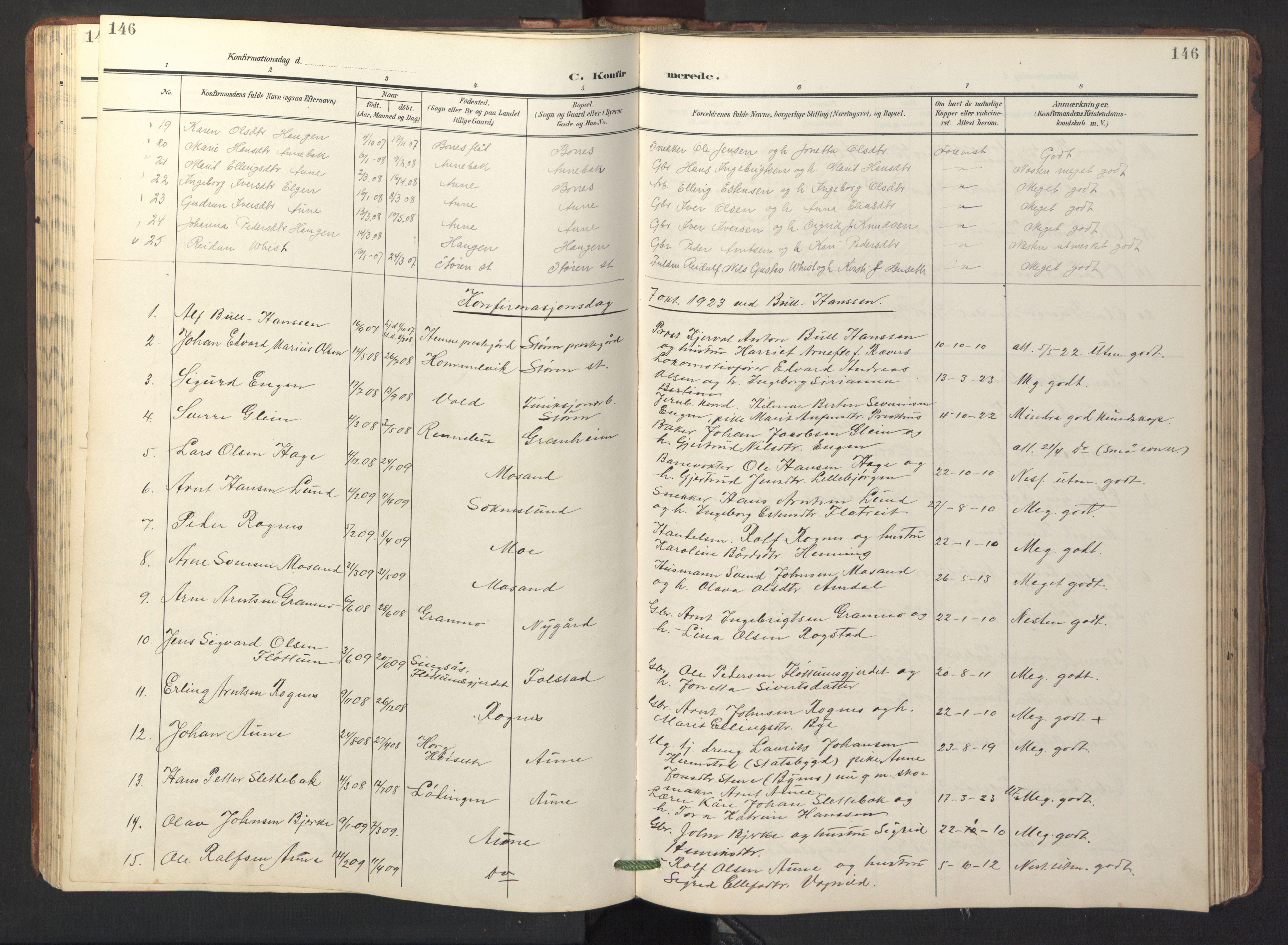 SAT, Ministerialprotokoller, klokkerbøker og fødselsregistre - Sør-Trøndelag, 687/L1019: Klokkerbok nr. 687C03, 1904-1931, s. 146
