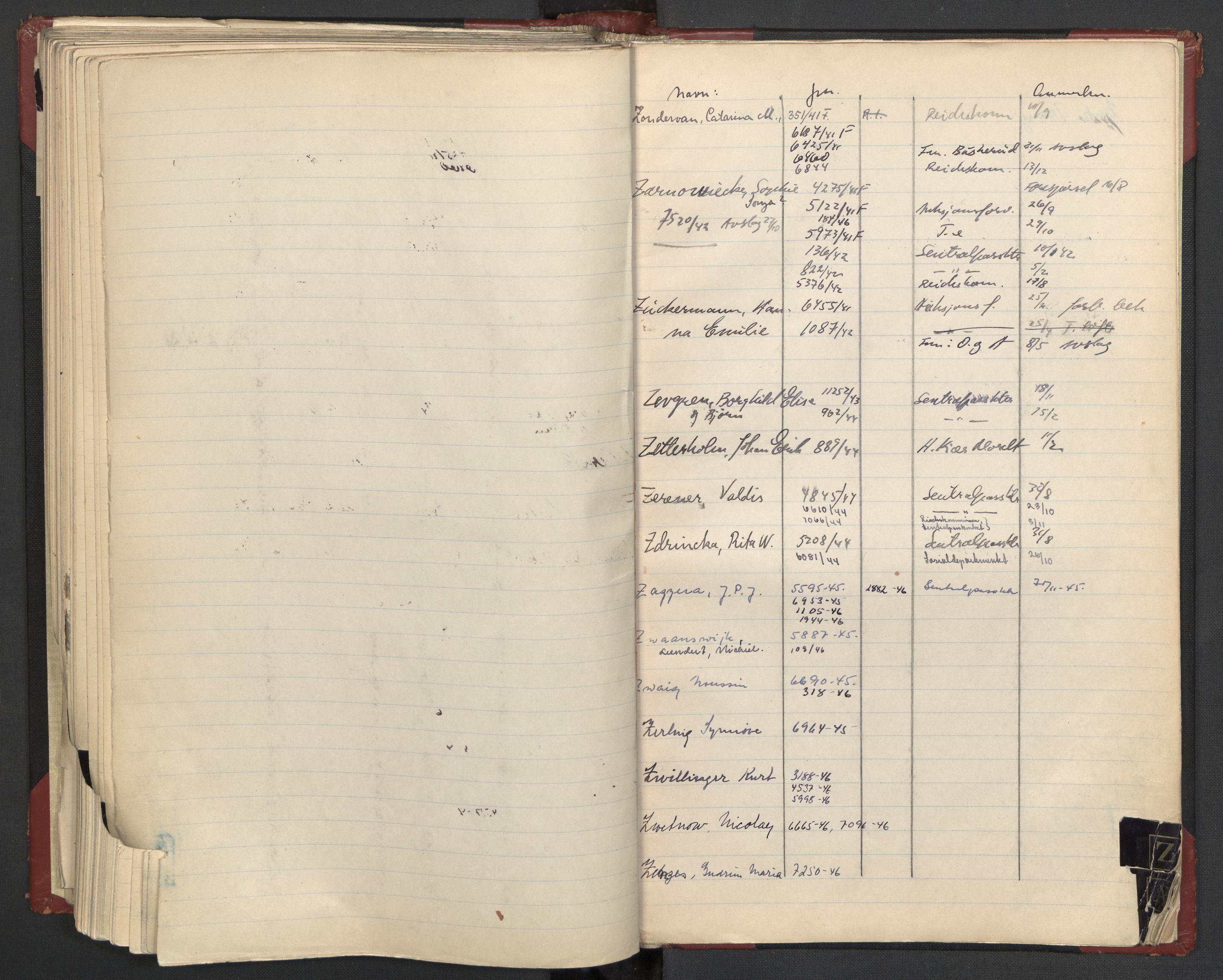 RA, Justisdepartementet, 3. politikontor P3, C/Cc/L0002: Journalregister over statsborgersaker, 1940-1946, s. 111