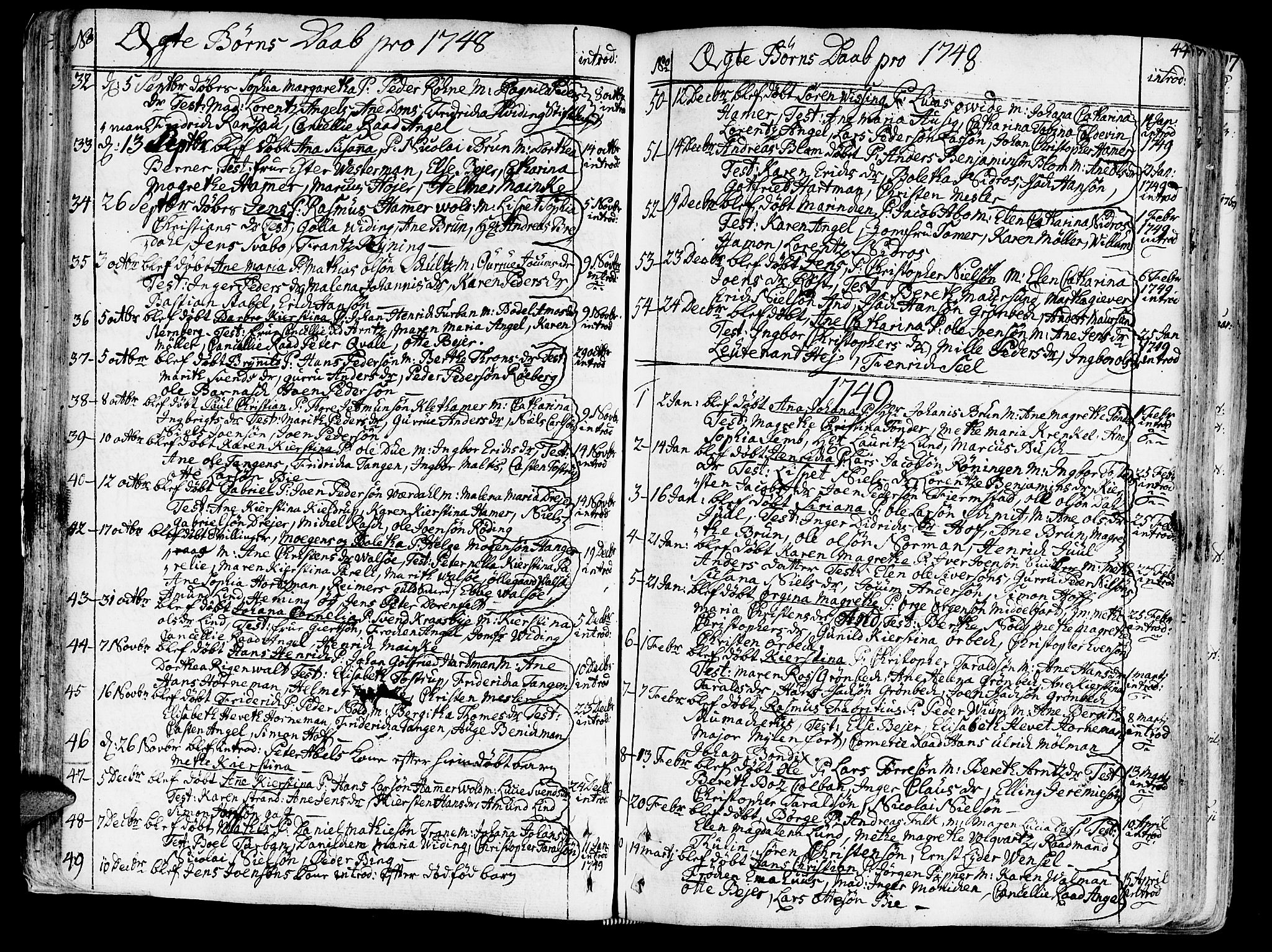SAT, Ministerialprotokoller, klokkerbøker og fødselsregistre - Sør-Trøndelag, 602/L0103: Ministerialbok nr. 602A01, 1732-1774, s. 44