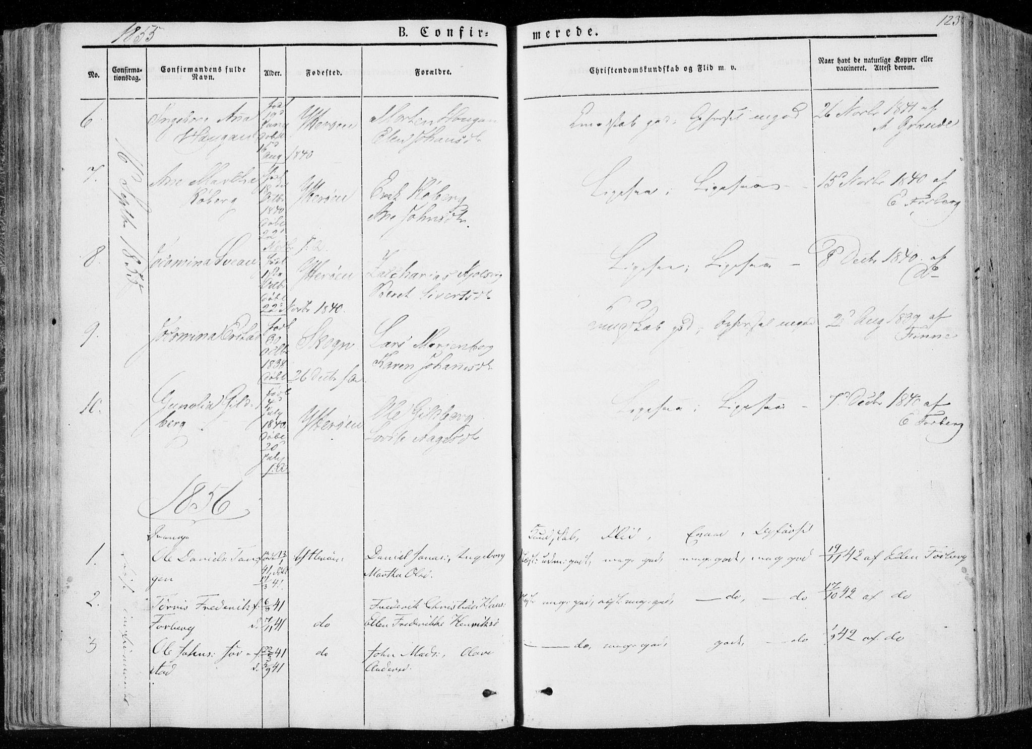 SAT, Ministerialprotokoller, klokkerbøker og fødselsregistre - Nord-Trøndelag, 722/L0218: Ministerialbok nr. 722A05, 1843-1868, s. 123