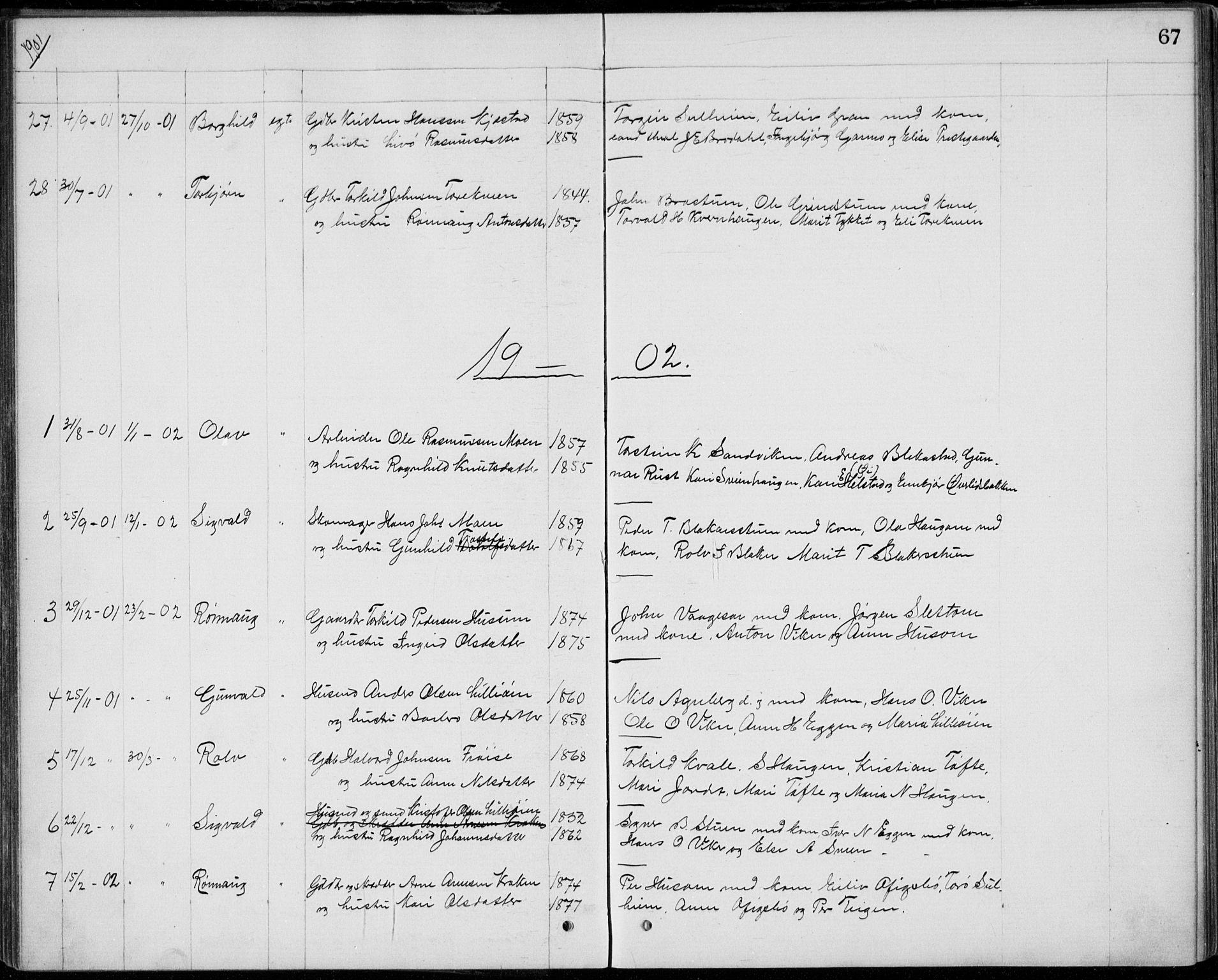 SAH, Lom prestekontor, L/L0013: Klokkerbok nr. 13, 1874-1938, s. 67