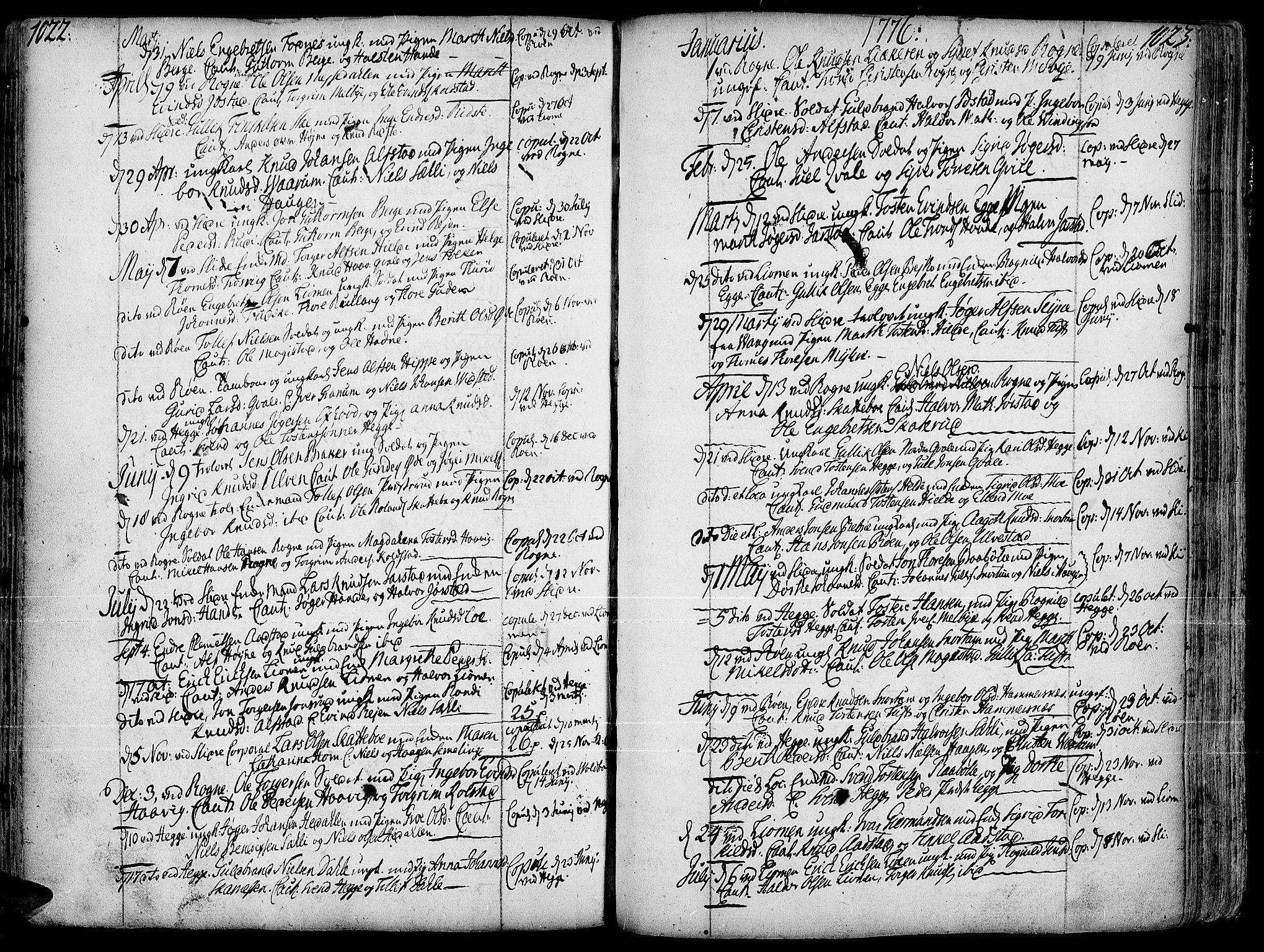 SAH, Slidre prestekontor, Ministerialbok nr. 1, 1724-1814, s. 1022-1023