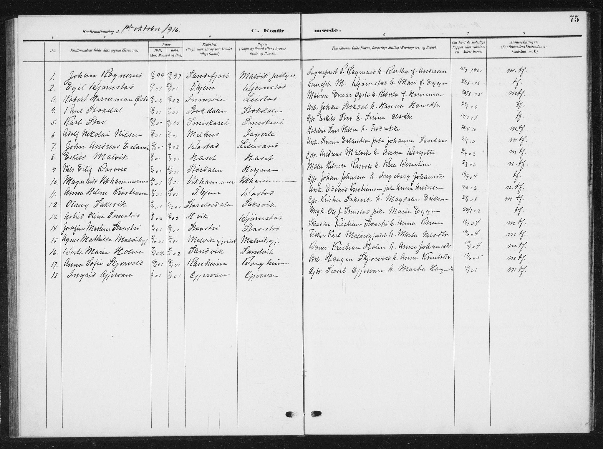 SAT, Ministerialprotokoller, klokkerbøker og fødselsregistre - Sør-Trøndelag, 616/L0424: Klokkerbok nr. 616C07, 1904-1940, s. 75