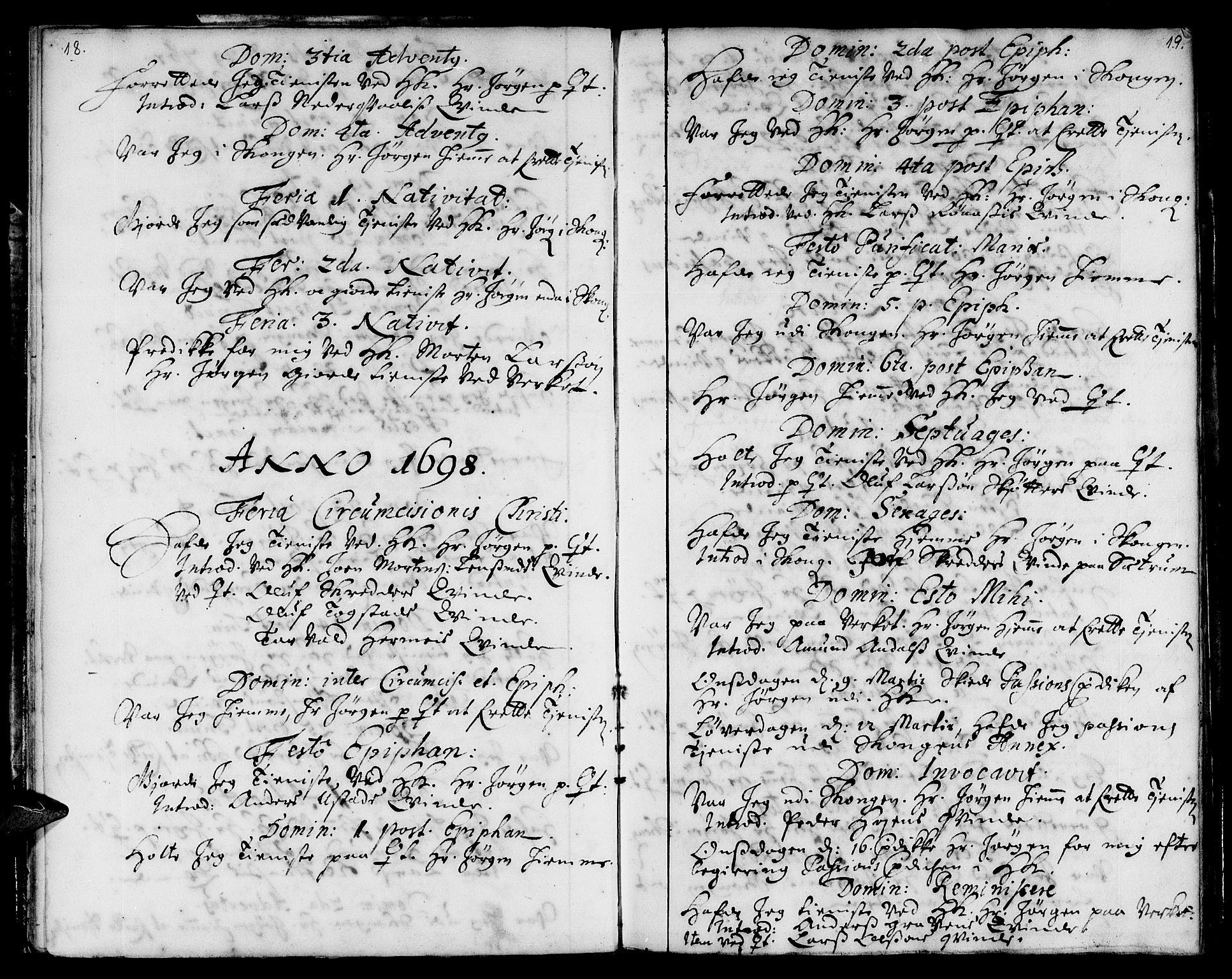 SAT, Ministerialprotokoller, klokkerbøker og fødselsregistre - Sør-Trøndelag, 668/L0801: Ministerialbok nr. 668A01, 1695-1716, s. 18-19