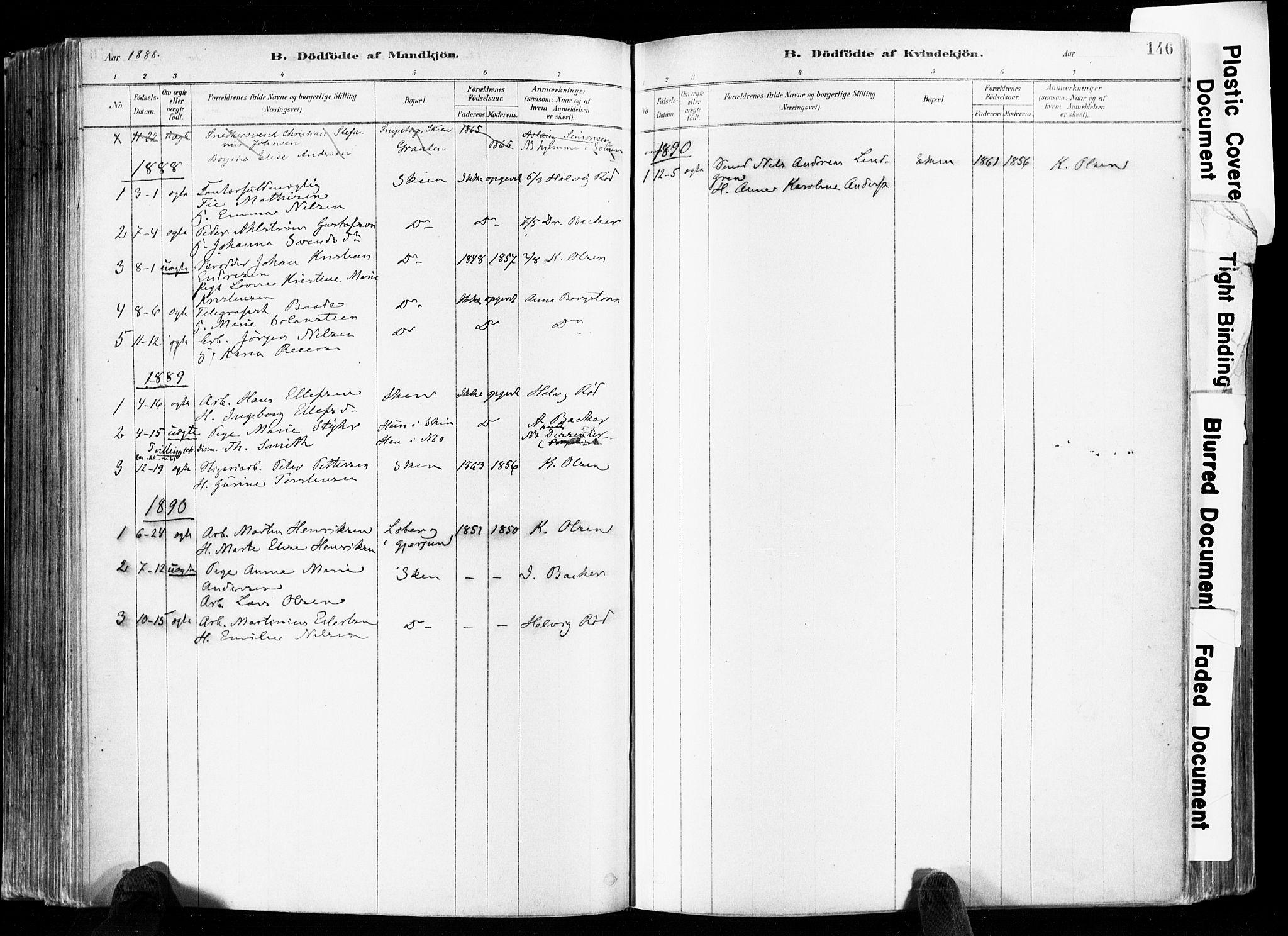 SAKO, Skien kirkebøker, F/Fa/L0009: Ministerialbok nr. 9, 1878-1890, s. 146