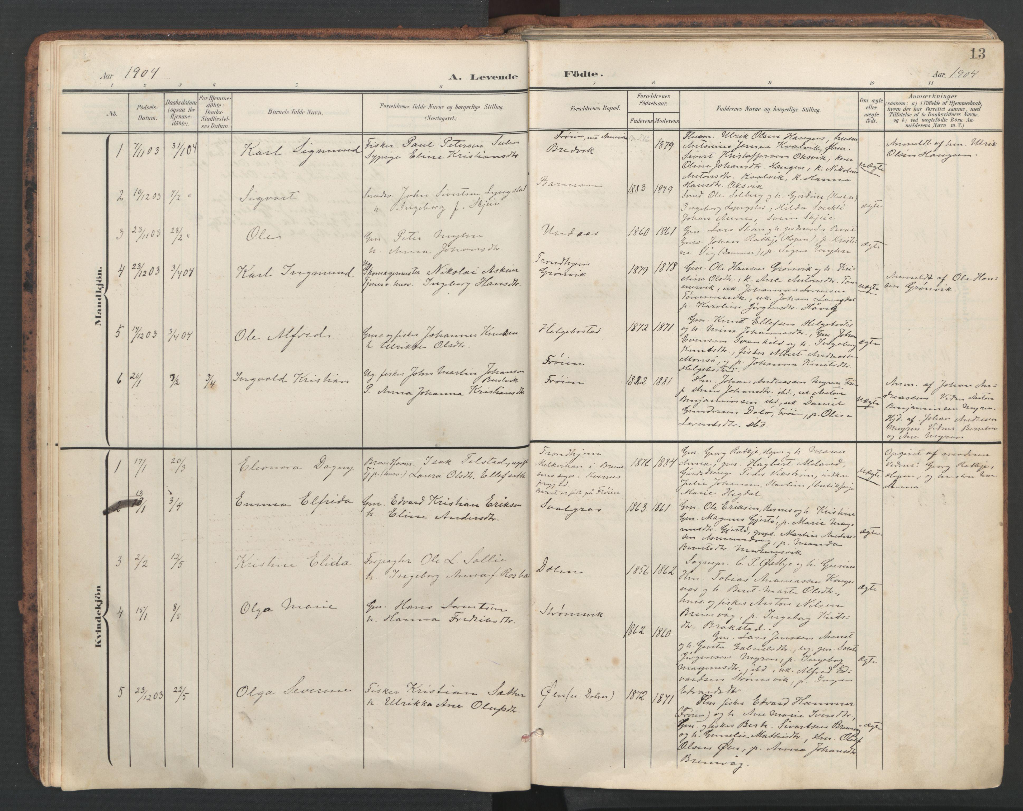 SAT, Ministerialprotokoller, klokkerbøker og fødselsregistre - Sør-Trøndelag, 634/L0537: Ministerialbok nr. 634A13, 1896-1922, s. 13