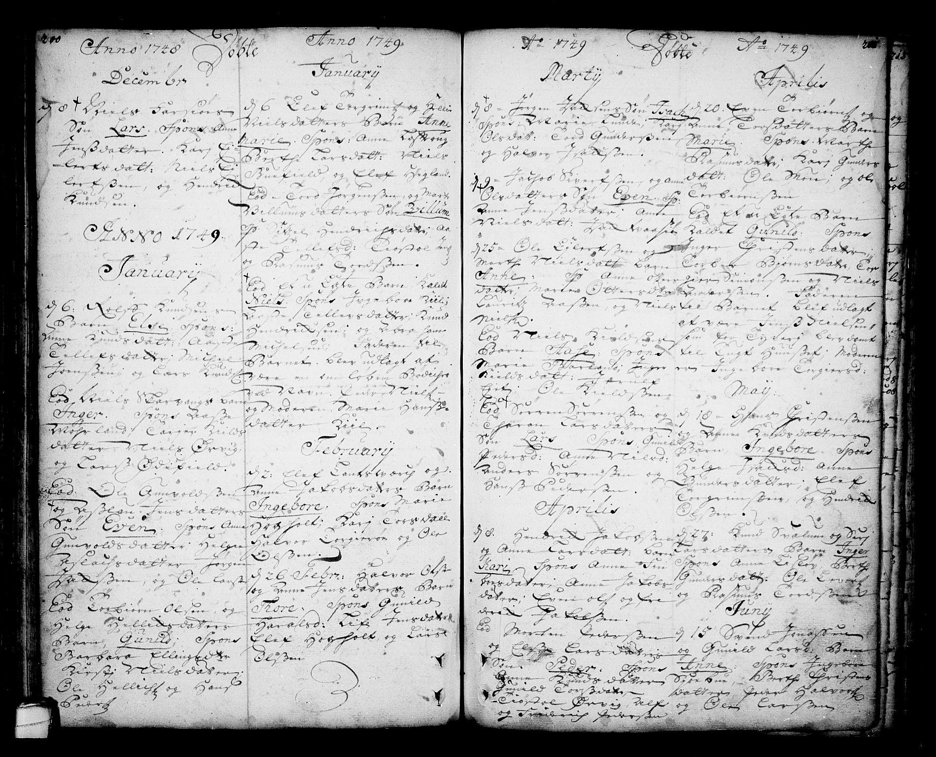 SAKO, Sannidal kirkebøker, F/Fa/L0001: Ministerialbok nr. 1, 1702-1766, s. 200-201