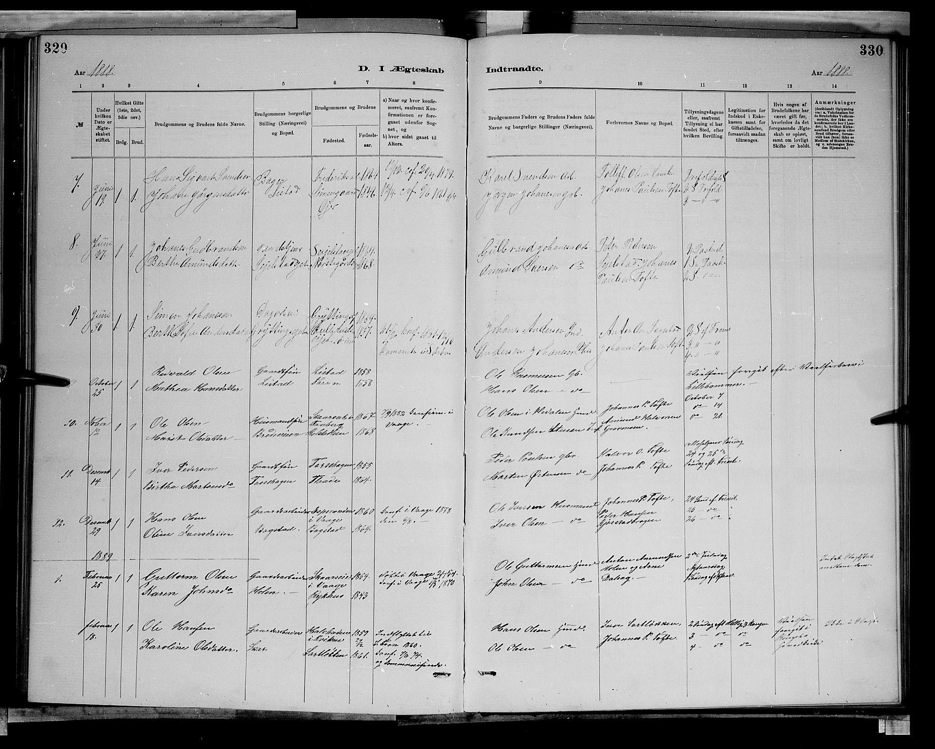 SAH, Sør-Fron prestekontor, H/Ha/Hab/L0003: Klokkerbok nr. 3, 1884-1896, s. 329-330