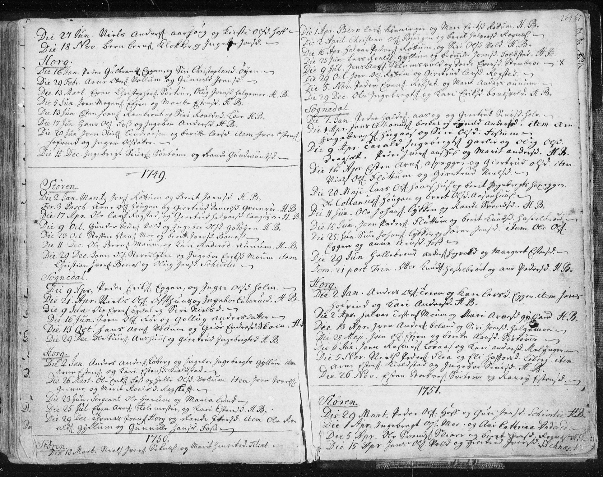 SAT, Ministerialprotokoller, klokkerbøker og fødselsregistre - Sør-Trøndelag, 687/L0991: Ministerialbok nr. 687A02, 1747-1790, s. 264