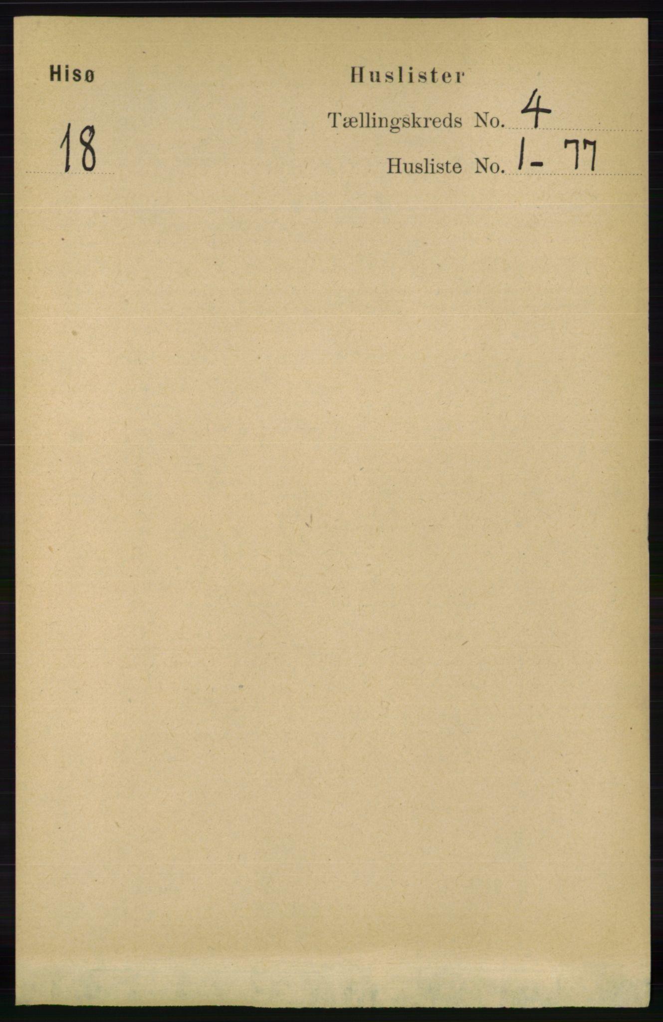 RA, Folketelling 1891 for 0922 Hisøy herred, 1891, s. 3229