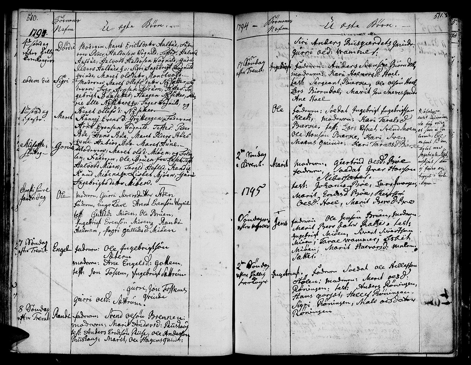 SAT, Ministerialprotokoller, klokkerbøker og fødselsregistre - Sør-Trøndelag, 678/L0893: Ministerialbok nr. 678A03, 1792-1805, s. 510-511
