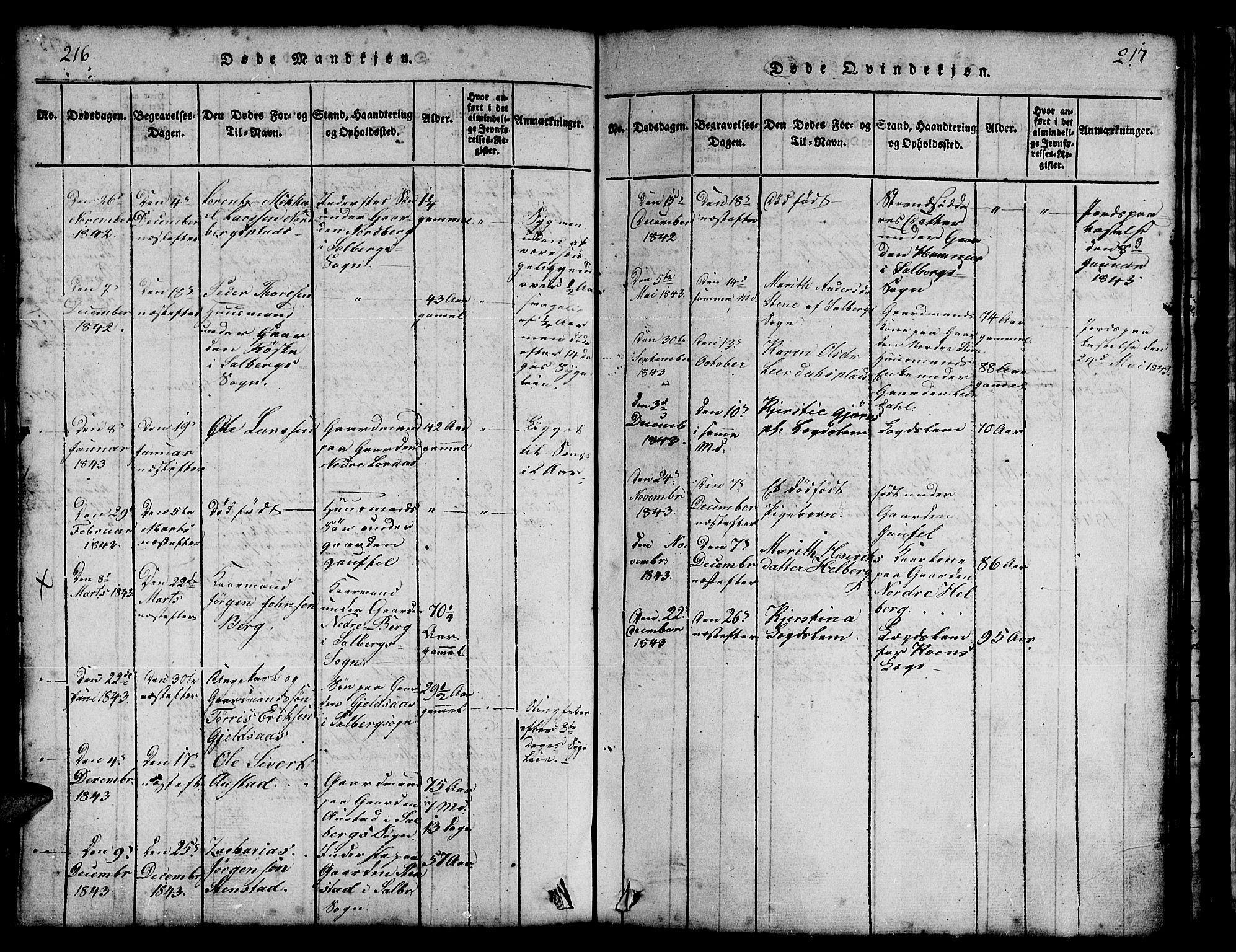 SAT, Ministerialprotokoller, klokkerbøker og fødselsregistre - Nord-Trøndelag, 731/L0310: Klokkerbok nr. 731C01, 1816-1874, s. 216-217