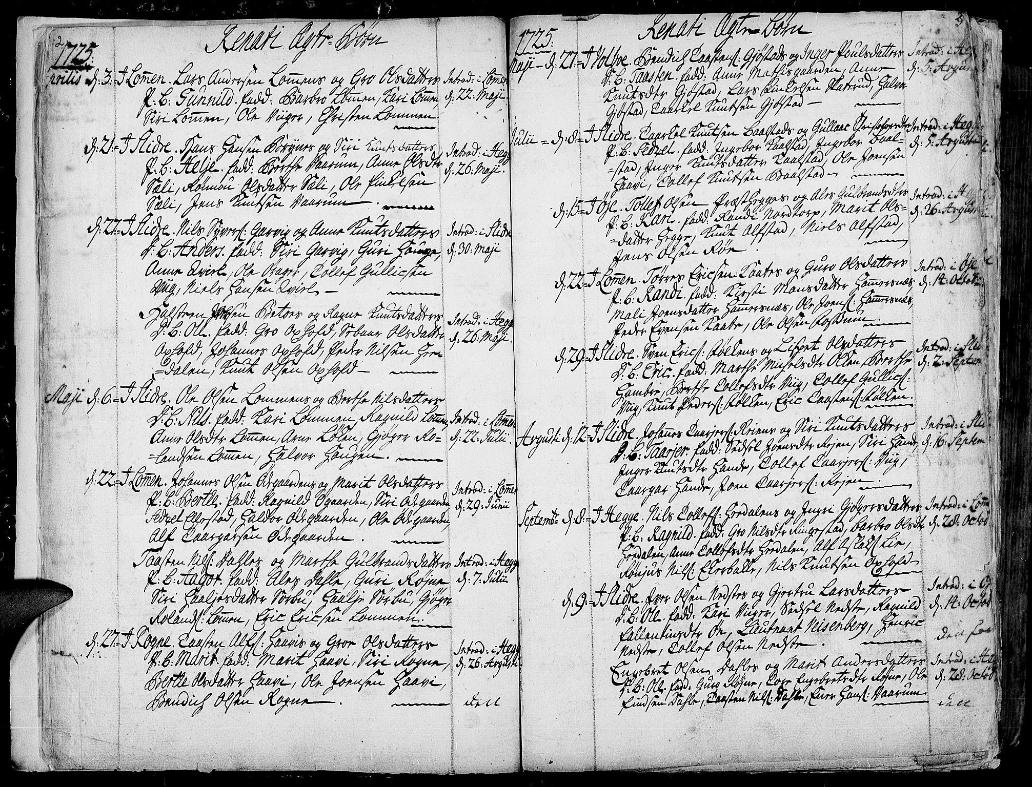 SAH, Slidre prestekontor, Ministerialbok nr. 1, 1724-1814, s. 2-3