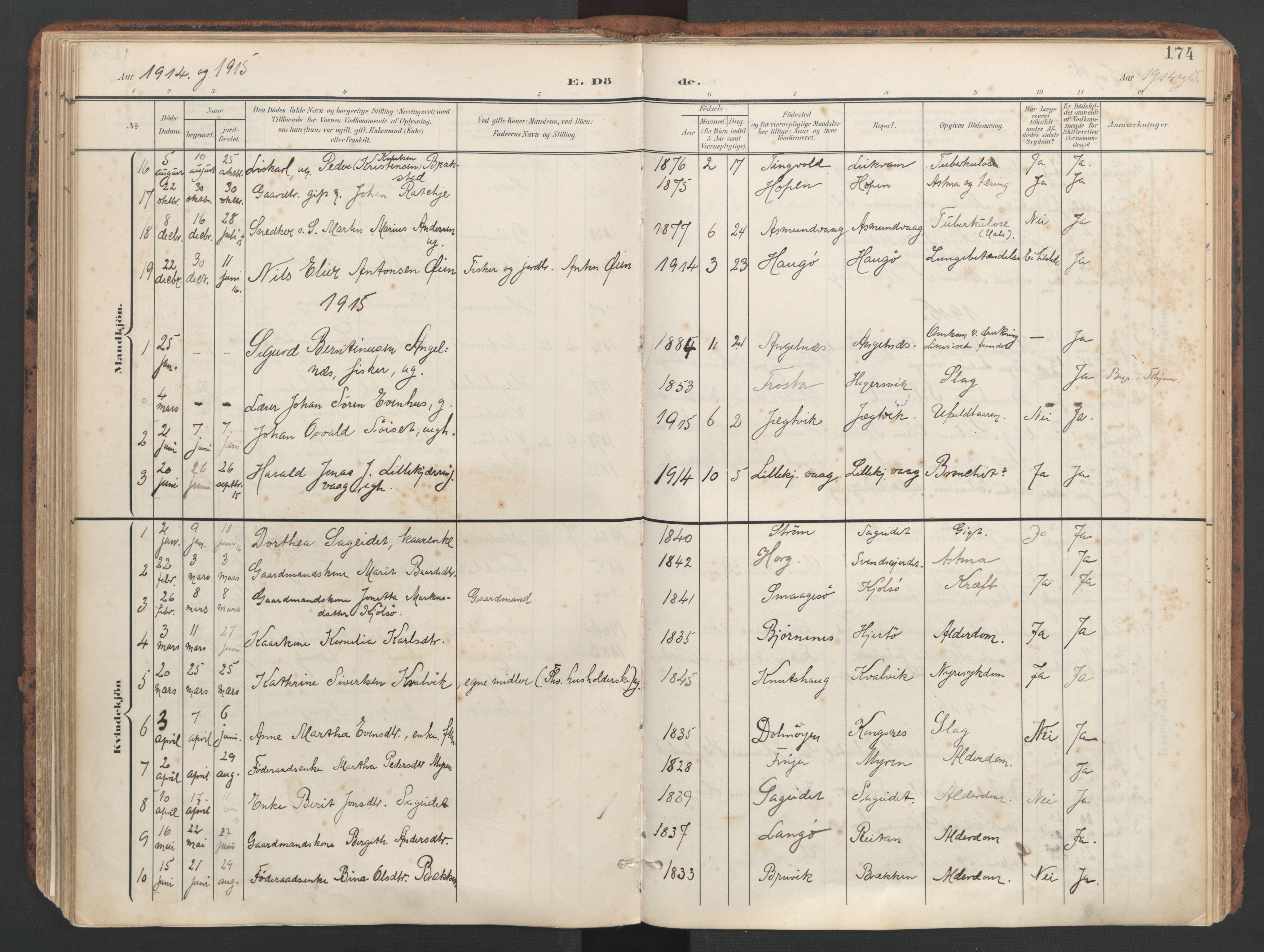 SAT, Ministerialprotokoller, klokkerbøker og fødselsregistre - Sør-Trøndelag, 634/L0537: Ministerialbok nr. 634A13, 1896-1922, s. 174