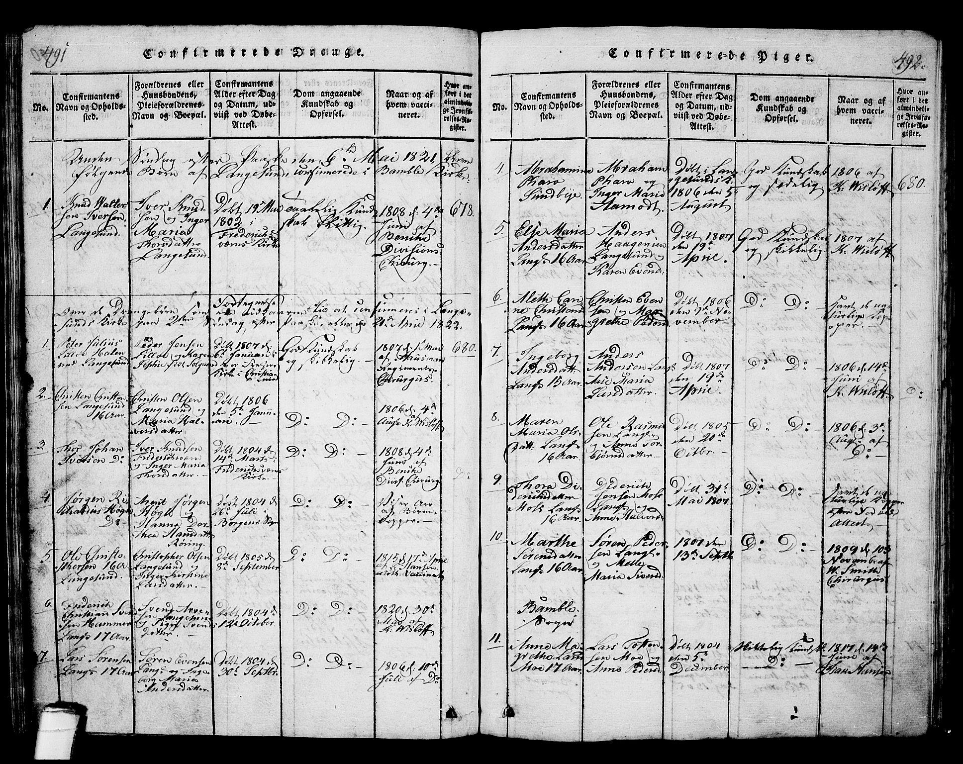 SAKO, Langesund kirkebøker, G/Ga/L0003: Klokkerbok nr. 3, 1815-1858, s. 491-492