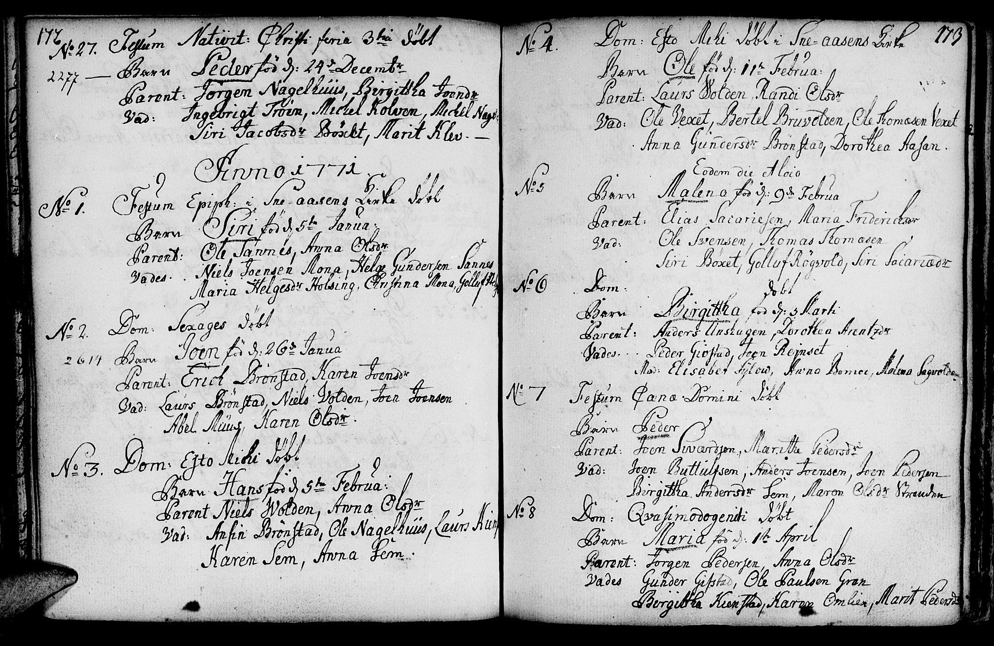 SAT, Ministerialprotokoller, klokkerbøker og fødselsregistre - Nord-Trøndelag, 749/L0467: Ministerialbok nr. 749A01, 1733-1787, s. 172-173