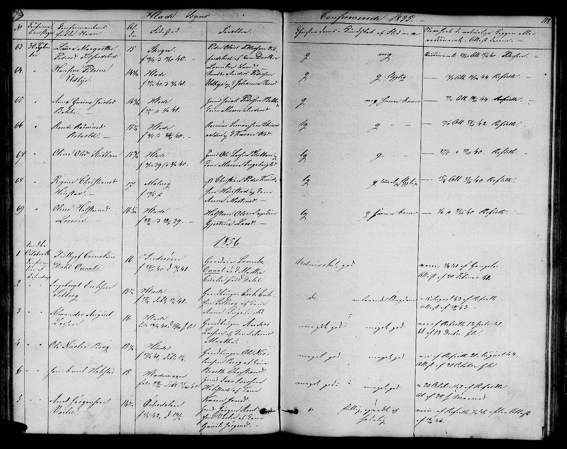 SAT, Ministerialprotokoller, klokkerbøker og fødselsregistre - Sør-Trøndelag, 606/L0310: Klokkerbok nr. 606C06, 1850-1859, s. 118