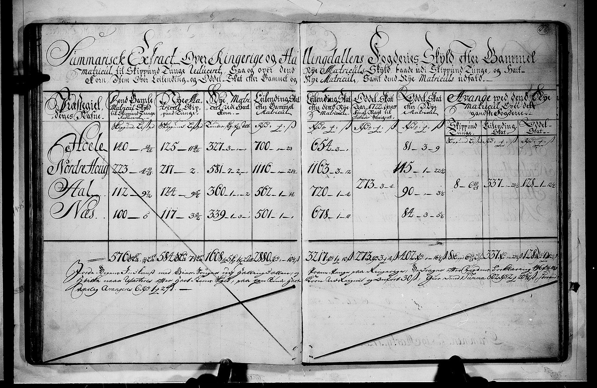 RA, Rentekammeret inntil 1814, Realistisk ordnet avdeling, N/Nb/Nbf/L0110: Ringerike og Hallingdal matrikkelprotokoll, 1723, s. 45b-46a