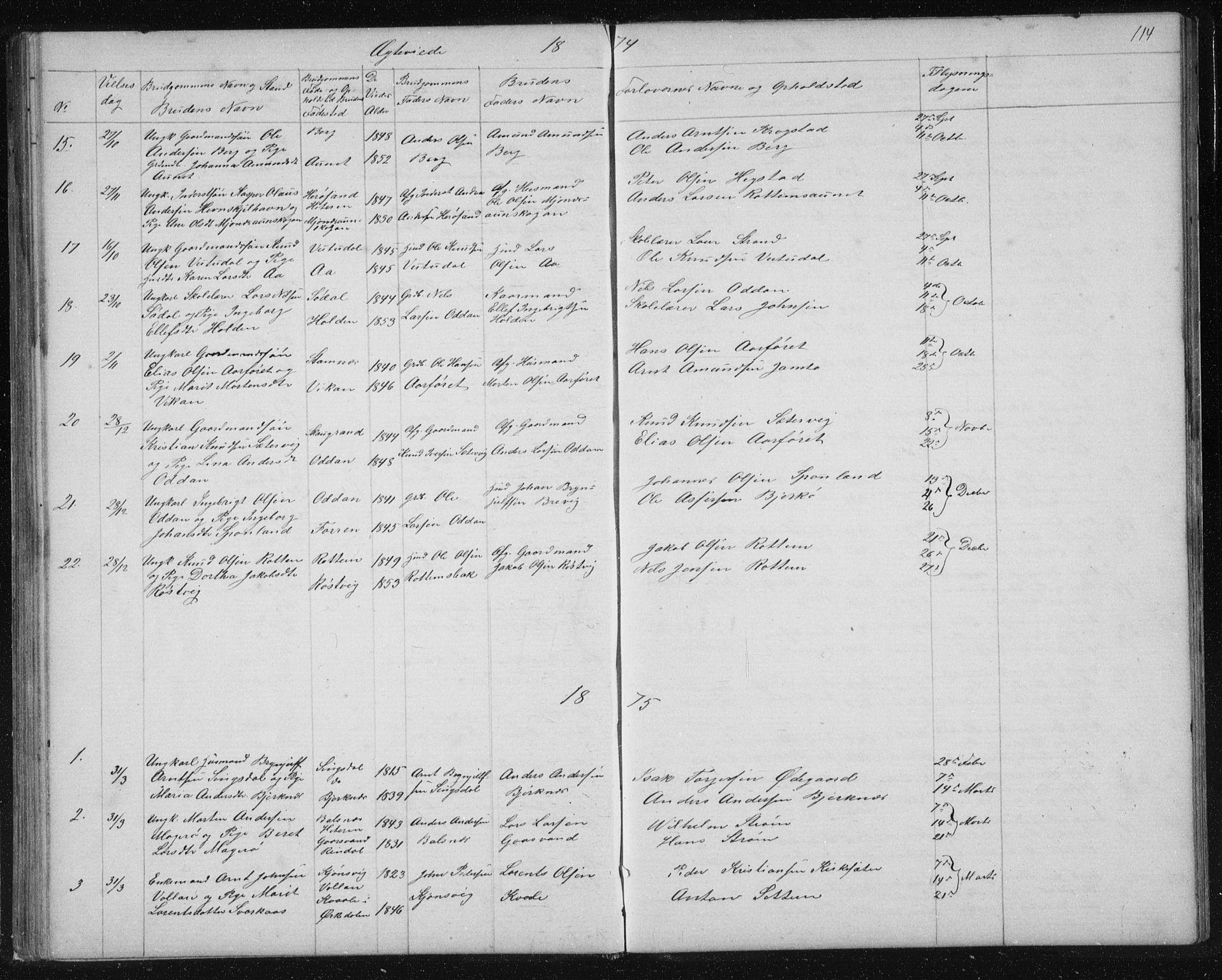 SAT, Ministerialprotokoller, klokkerbøker og fødselsregistre - Sør-Trøndelag, 630/L0503: Klokkerbok nr. 630C01, 1869-1878, s. 114