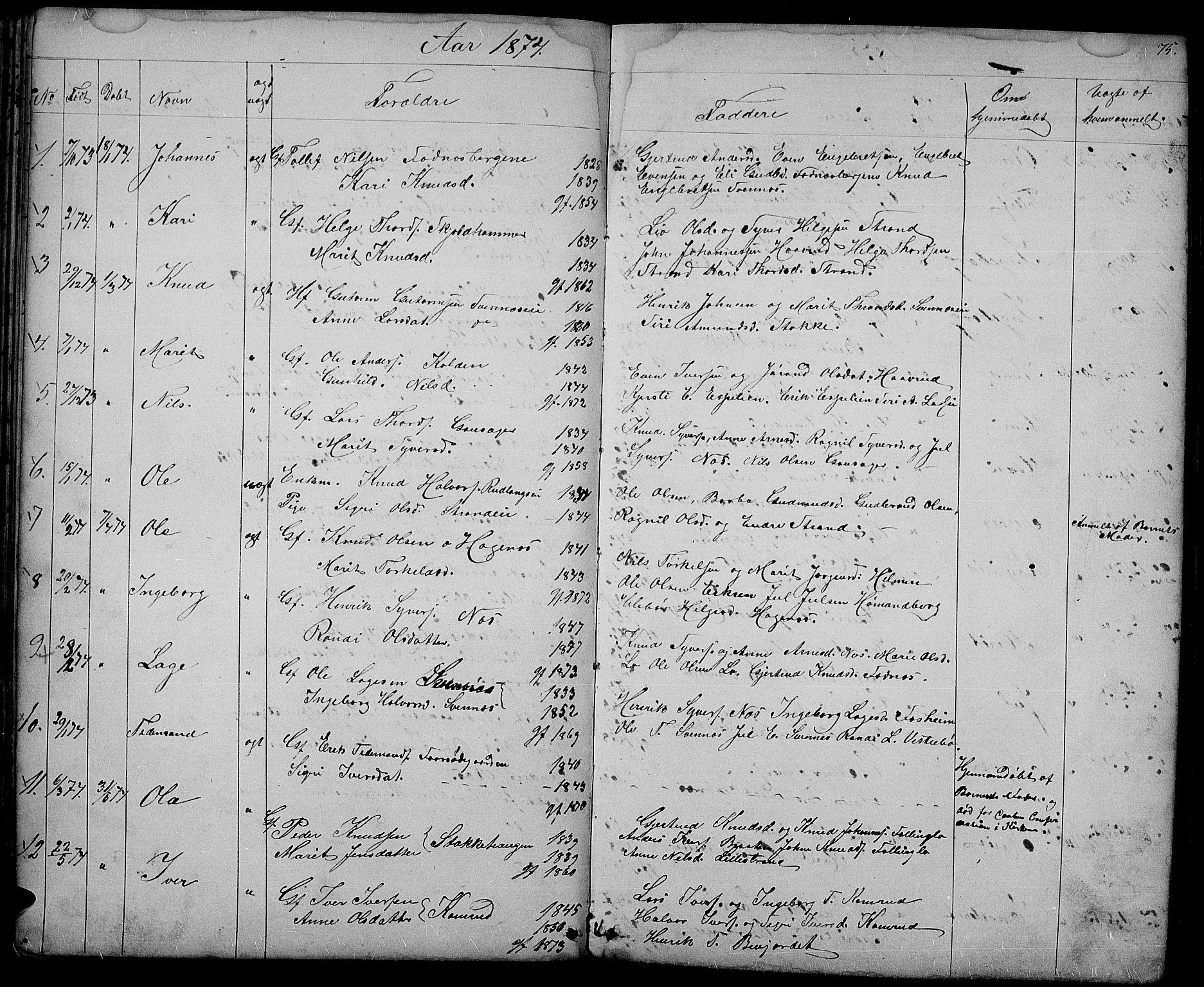 SAH, Nord-Aurdal prestekontor, Klokkerbok nr. 3, 1842-1882, s. 75