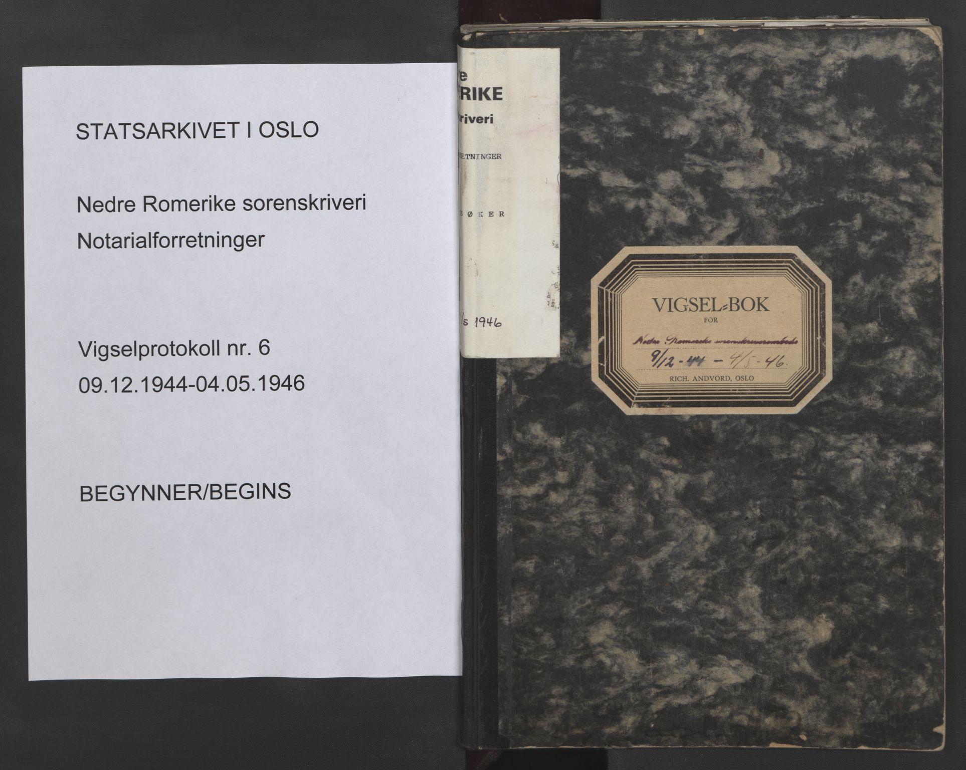 SAO, Nedre Romerike sorenskriveri, L/Lb/L0006: Vigselsbok - borgerlige vielser, 1944-1946, s. upaginert