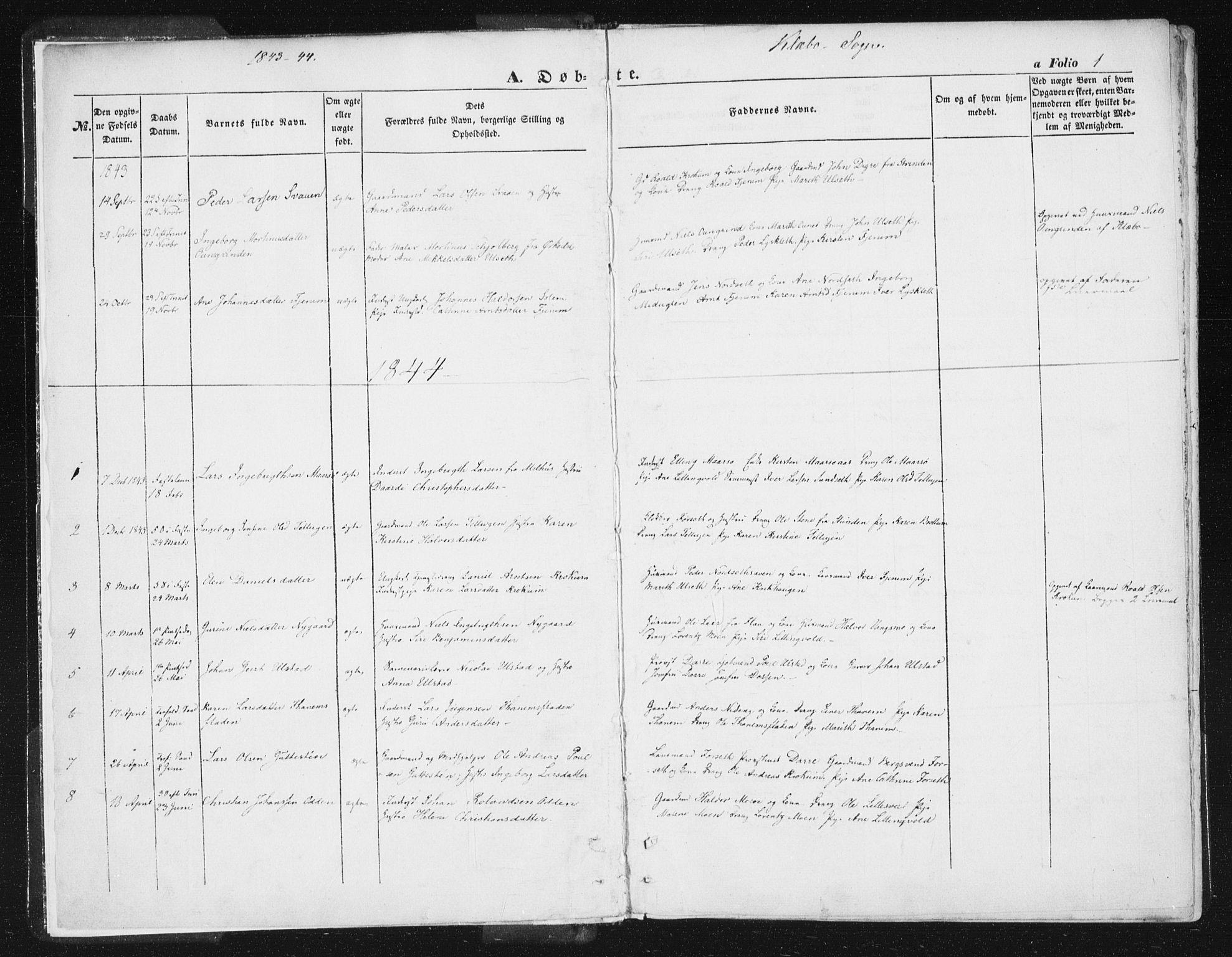 SAT, Ministerialprotokoller, klokkerbøker og fødselsregistre - Sør-Trøndelag, 618/L0441: Ministerialbok nr. 618A05, 1843-1862, s. 1