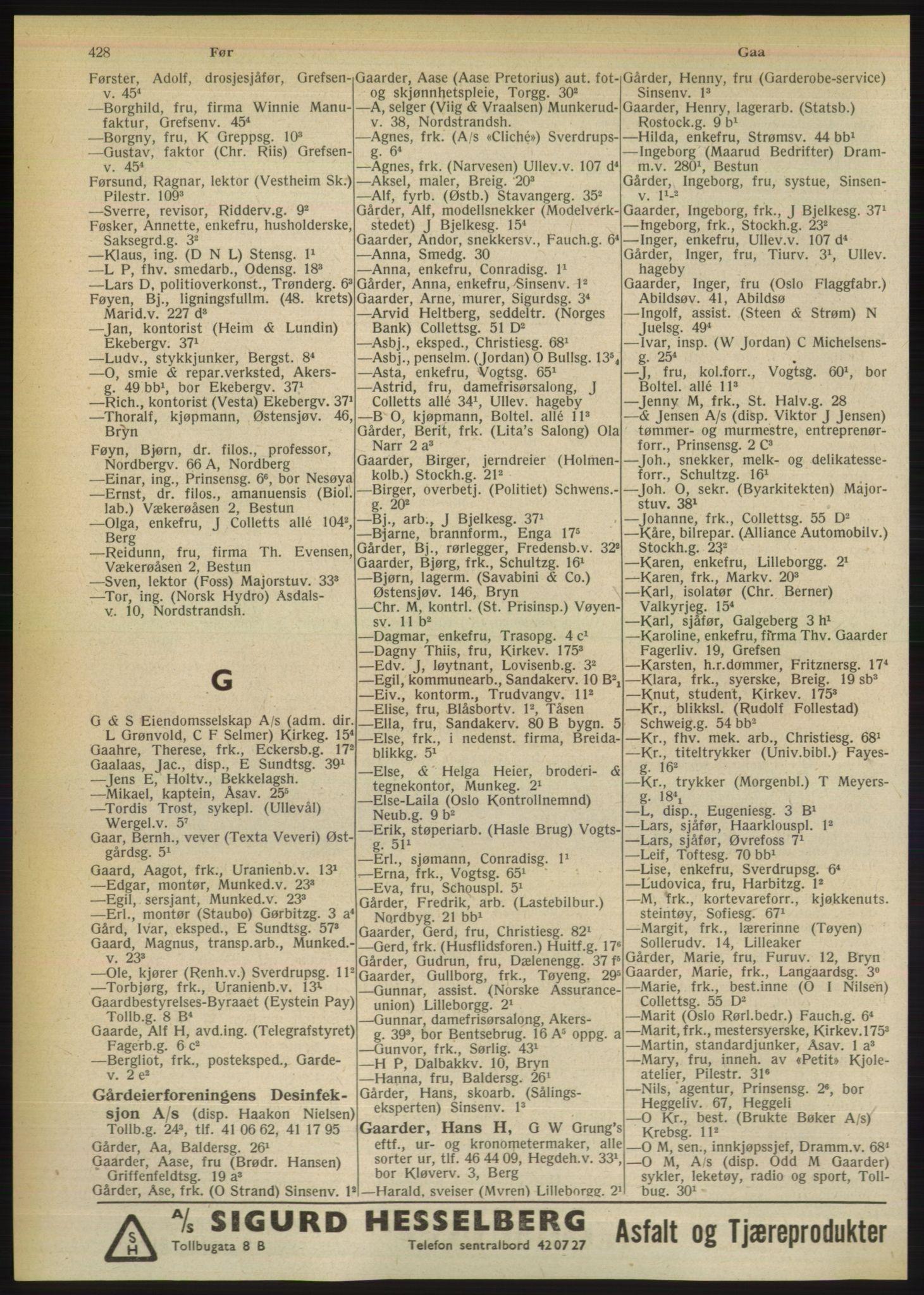 RA, Oslo adressebok (publikasjon)*, 1949, s. 428