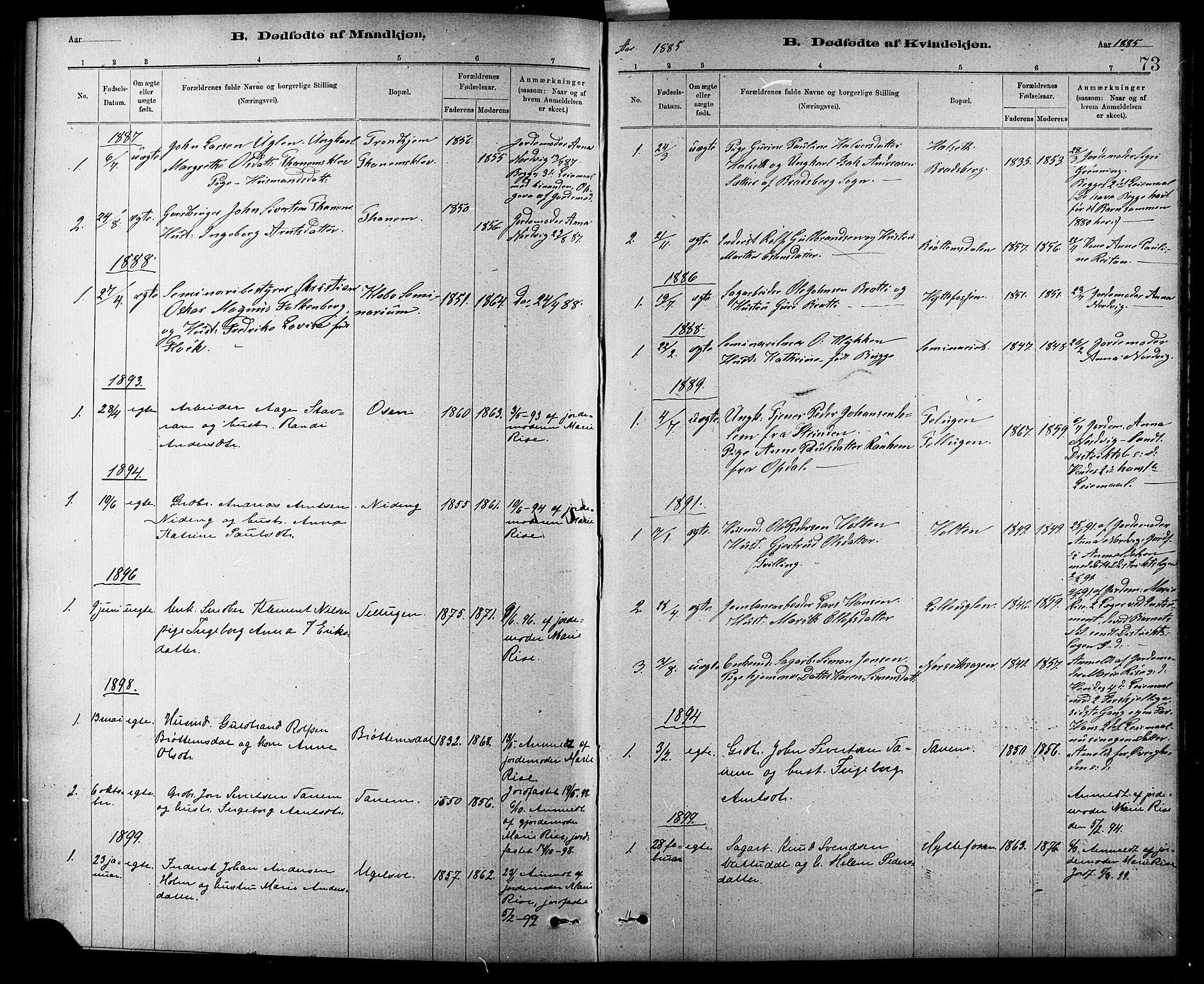 SAT, Ministerialprotokoller, klokkerbøker og fødselsregistre - Sør-Trøndelag, 618/L0452: Klokkerbok nr. 618C03, 1884-1906, s. 73