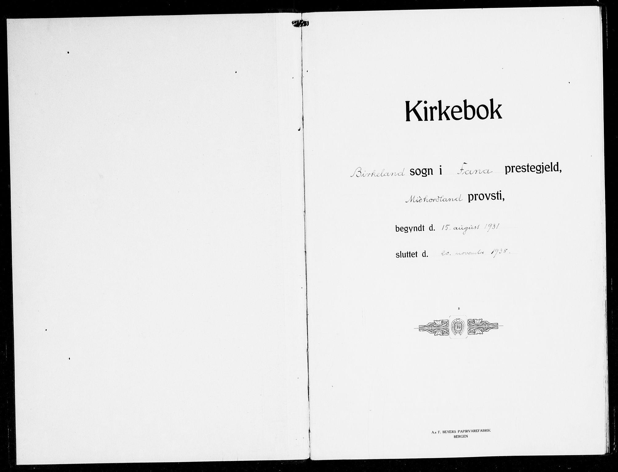 SAB, Fana Sokneprestembete, H/Haa/Haak/L0002: Ministerialbok nr. K 2, 1931-1938