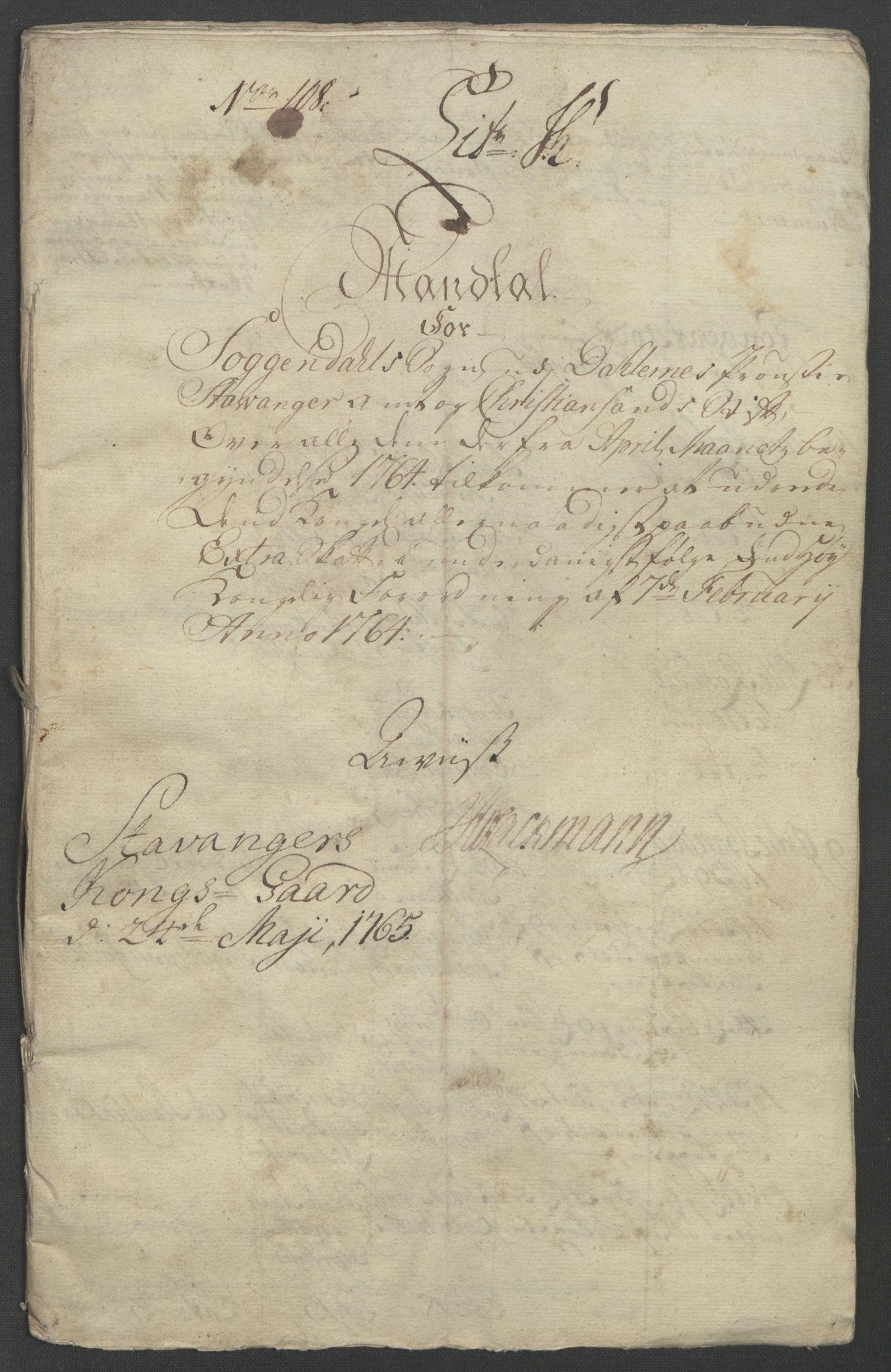 RA, Rentekammeret inntil 1814, Reviderte regnskaper, Fogderegnskap, R46/L2835: Ekstraskatten Jæren og Dalane, 1762-1764, s. 320