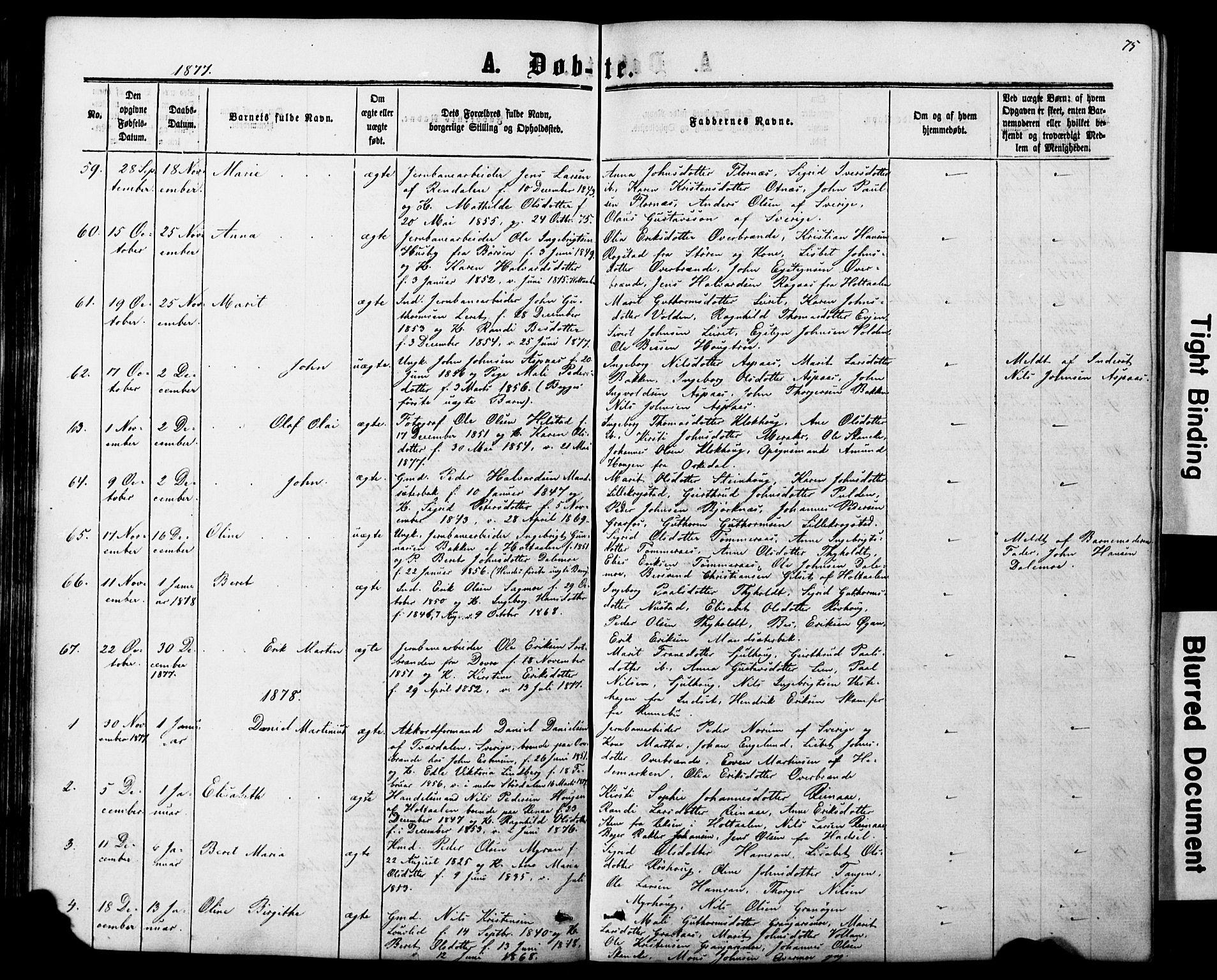 SAT, Ministerialprotokoller, klokkerbøker og fødselsregistre - Nord-Trøndelag, 706/L0049: Klokkerbok nr. 706C01, 1864-1895, s. 75