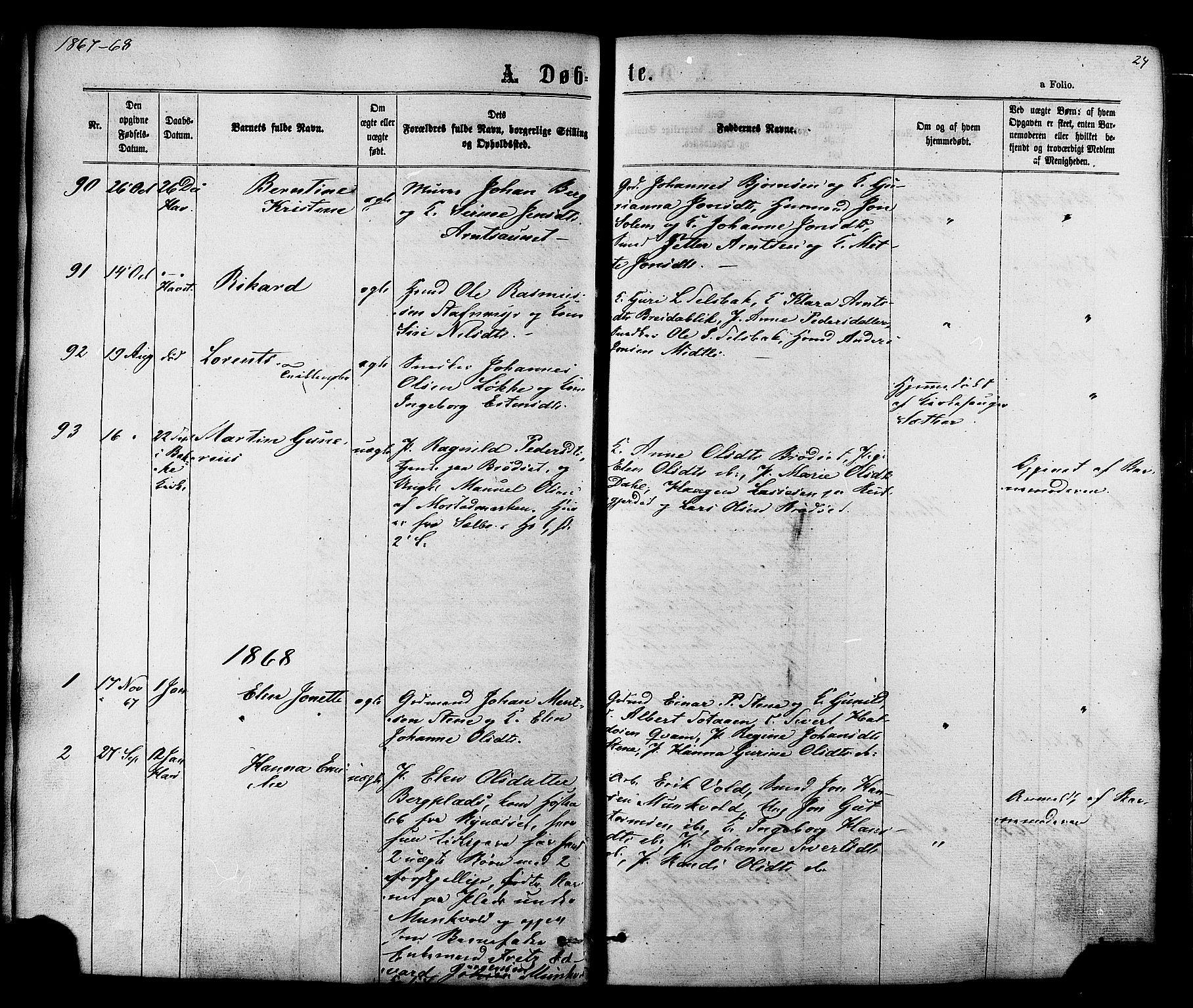 SAT, Ministerialprotokoller, klokkerbøker og fødselsregistre - Sør-Trøndelag, 606/L0293: Ministerialbok nr. 606A08, 1866-1877, s. 24
