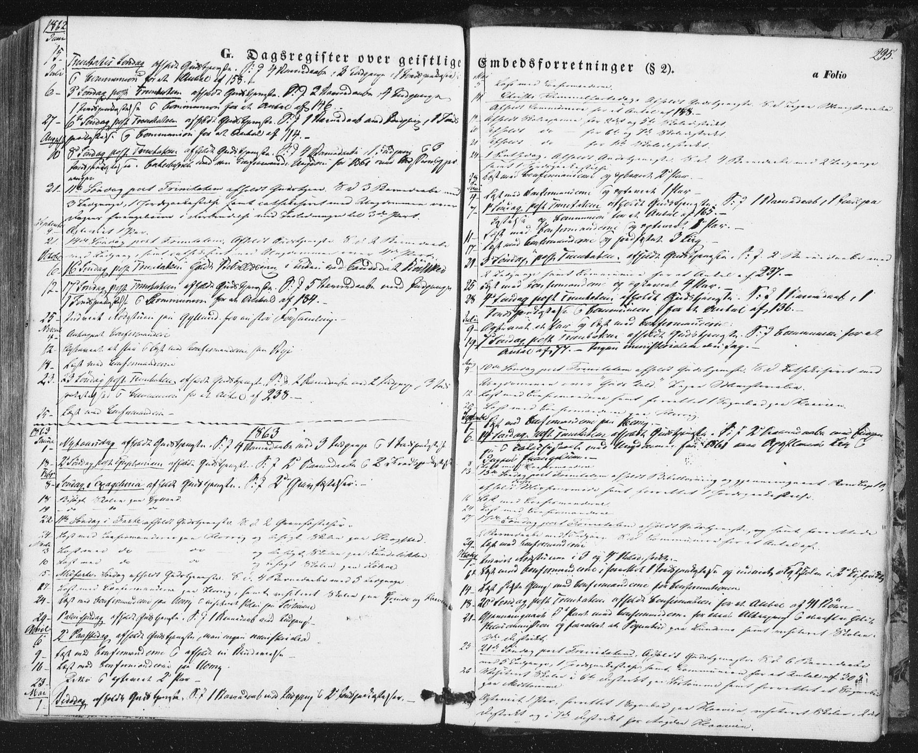 SAT, Ministerialprotokoller, klokkerbøker og fødselsregistre - Sør-Trøndelag, 692/L1103: Ministerialbok nr. 692A03, 1849-1870, s. 295