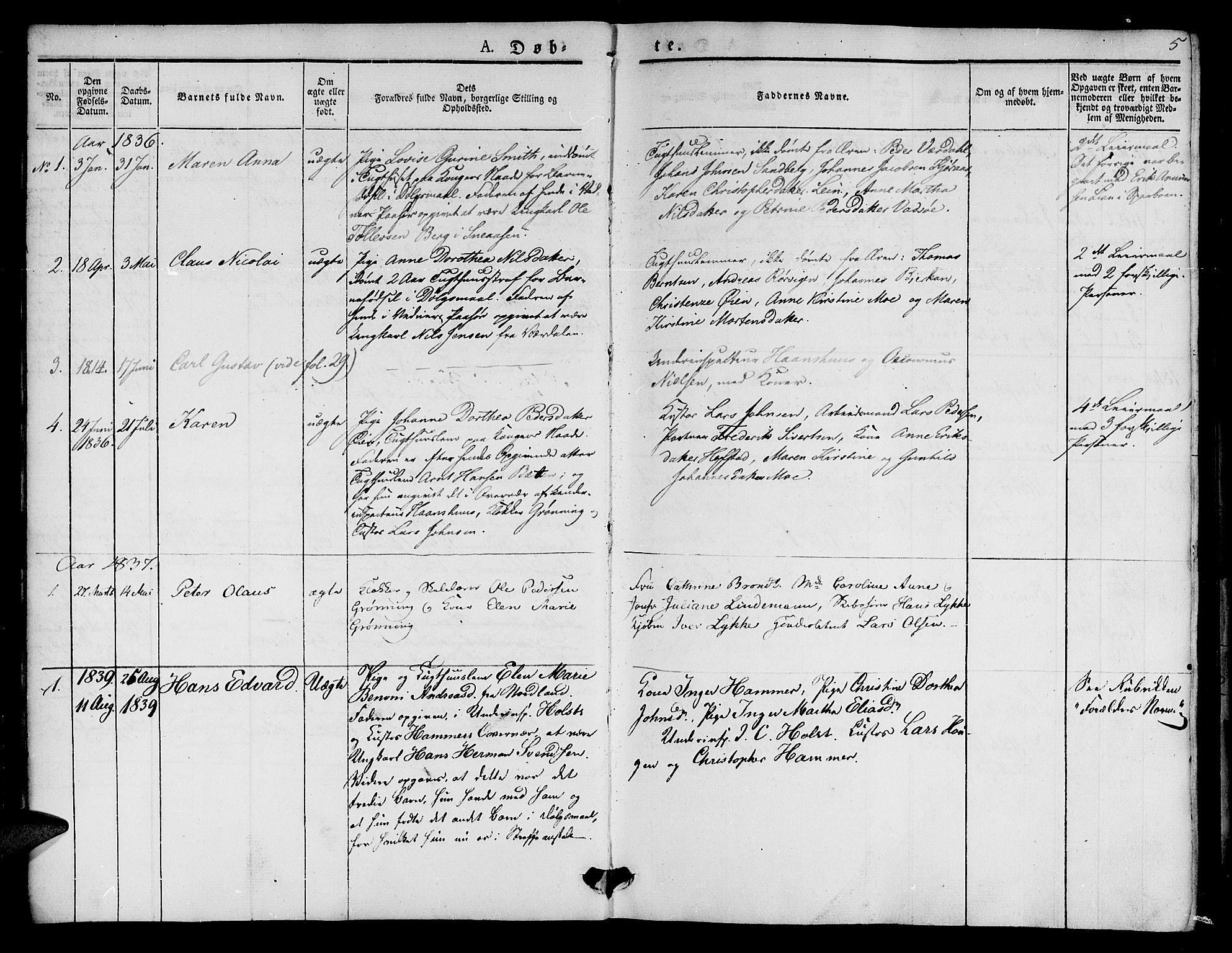 SAT, Ministerialprotokoller, klokkerbøker og fødselsregistre - Sør-Trøndelag, 623/L0468: Ministerialbok nr. 623A02, 1826-1867, s. 5