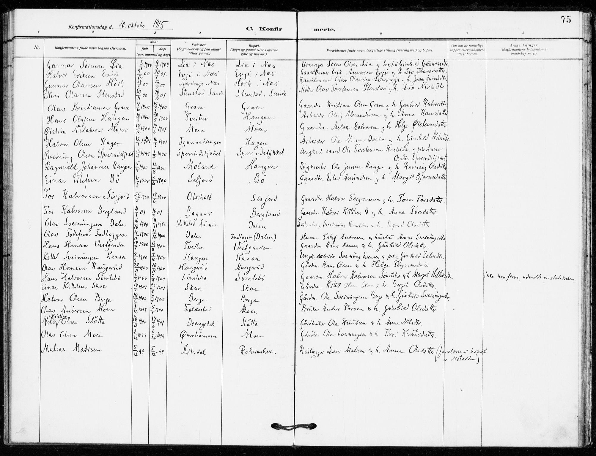SAKO, Bø kirkebøker, F/Fa/L0013: Ministerialbok nr. 13, 1909-1921, s. 75